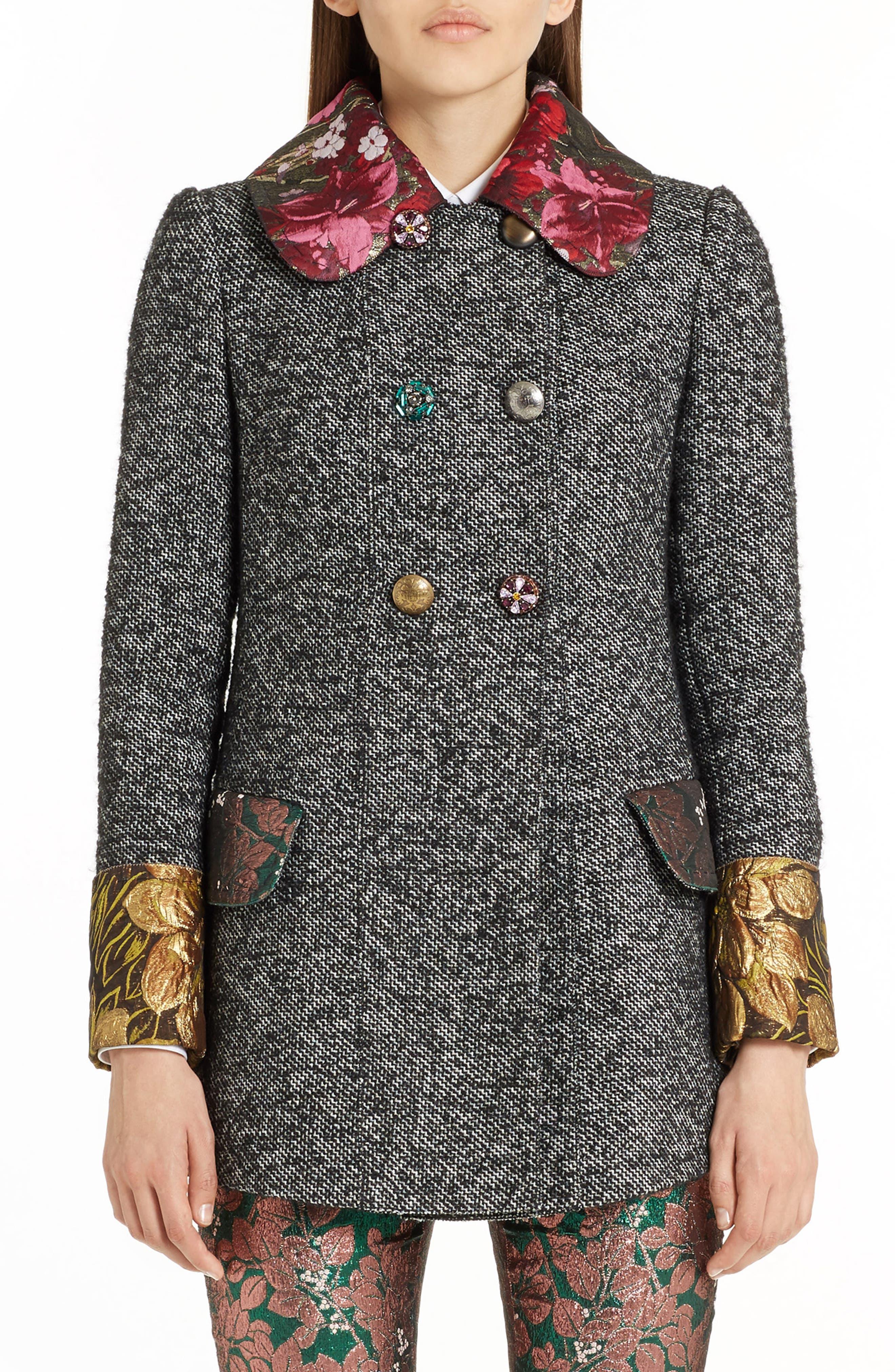 Jacquard Trim Tweed Coat,                             Main thumbnail 1, color,                             060