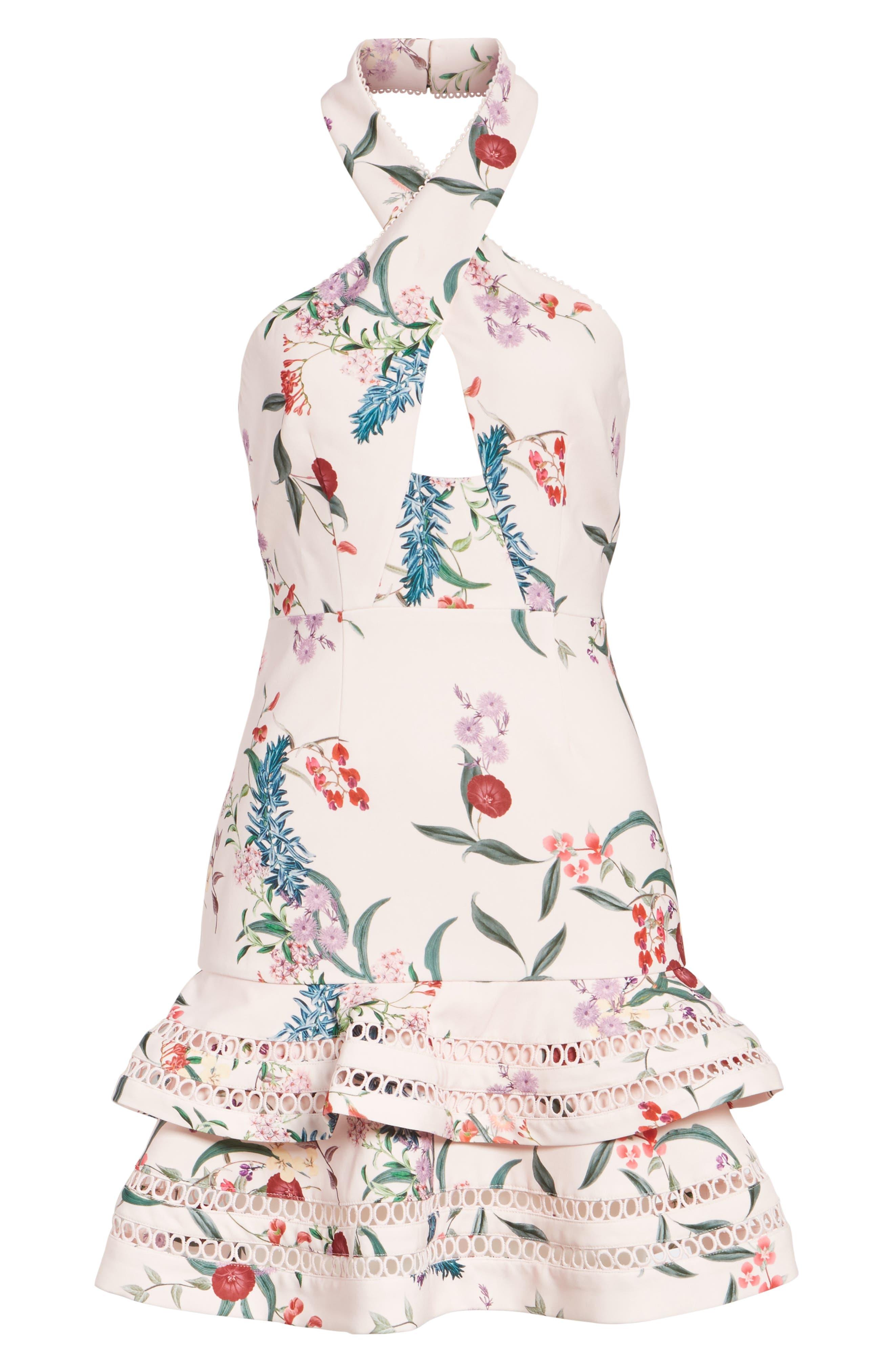 Indulge Halter A-Line Dress,                             Alternate thumbnail 6, color,                             650