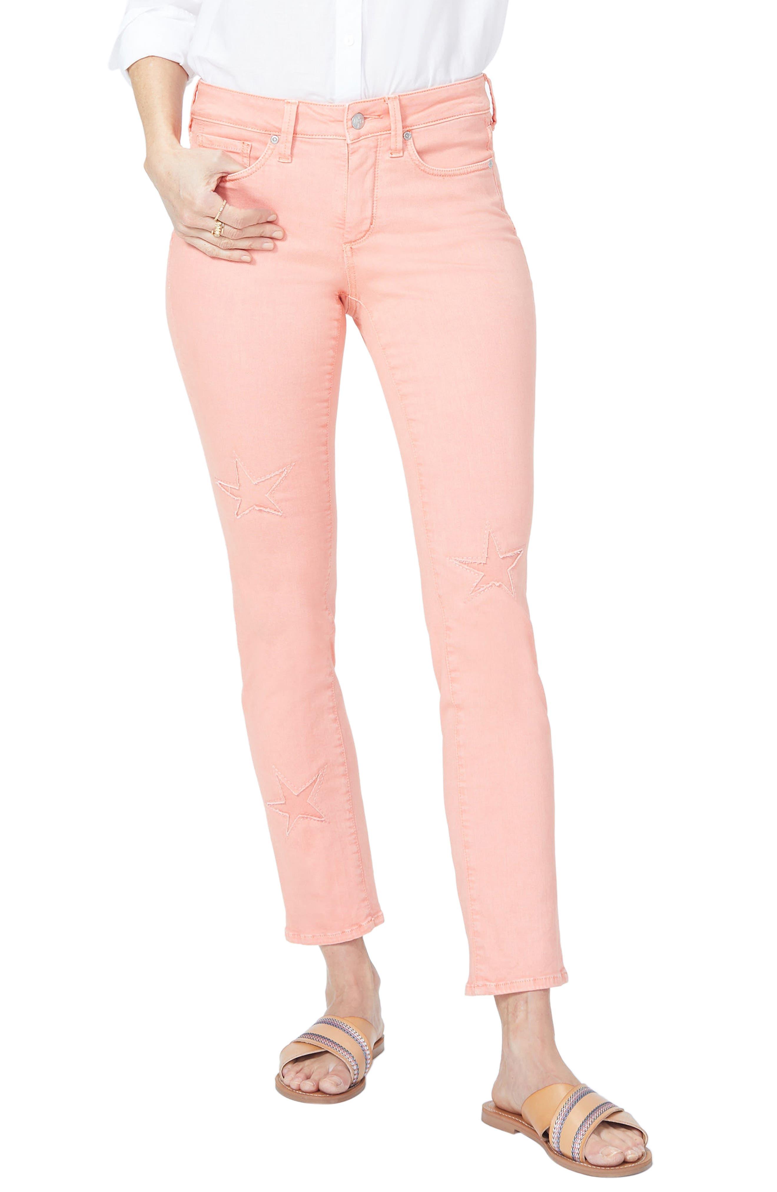 Lasercut Starfish Stretch Slim Ankle Pants,                         Main,                         color,