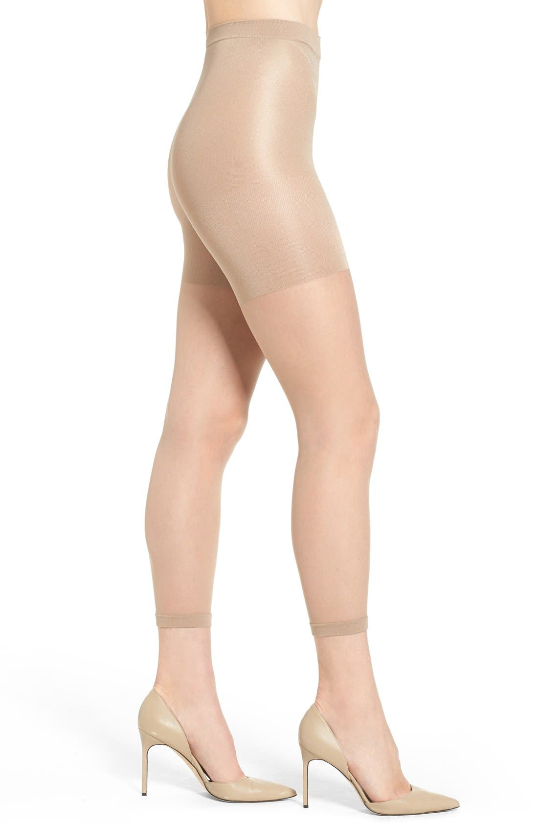 Power Capri Control Top Footless Pantyhose,                             Main thumbnail 1, color,                             NUDE