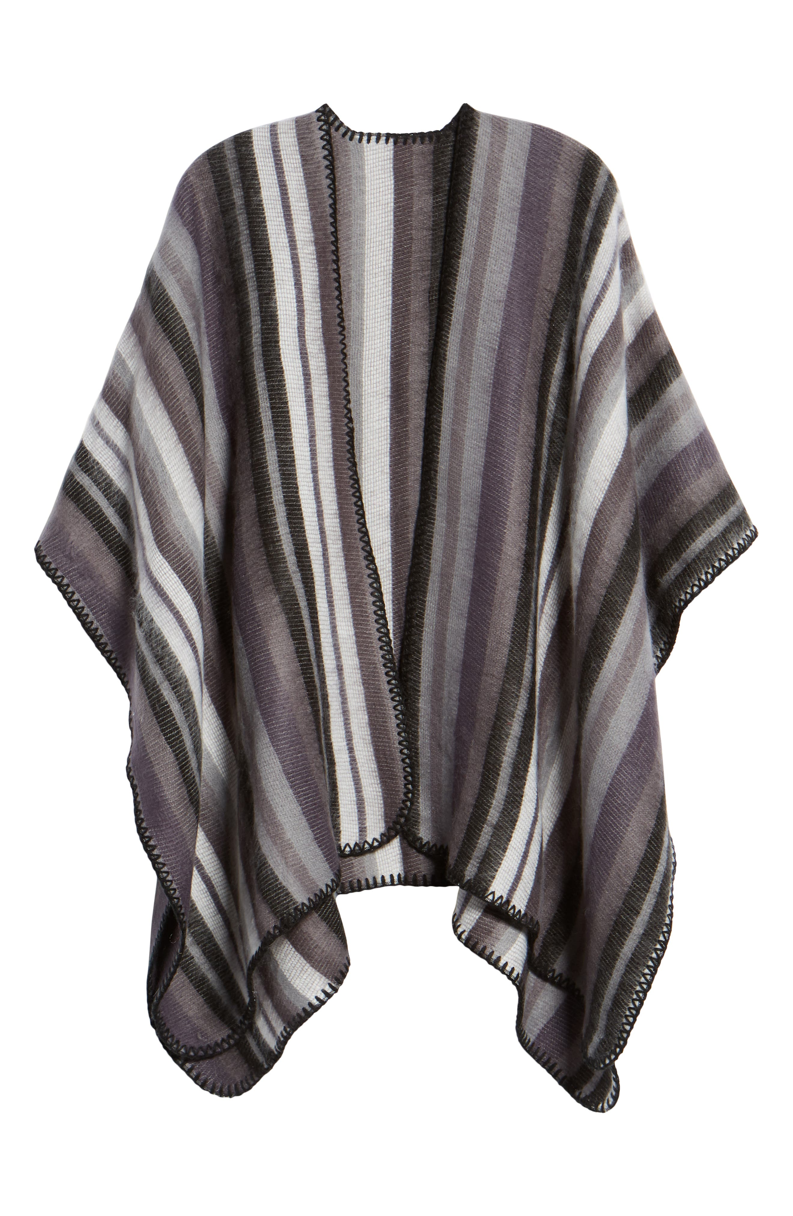 Stripe Blanket Wrap,                             Alternate thumbnail 6, color,                             BLACK COMBO