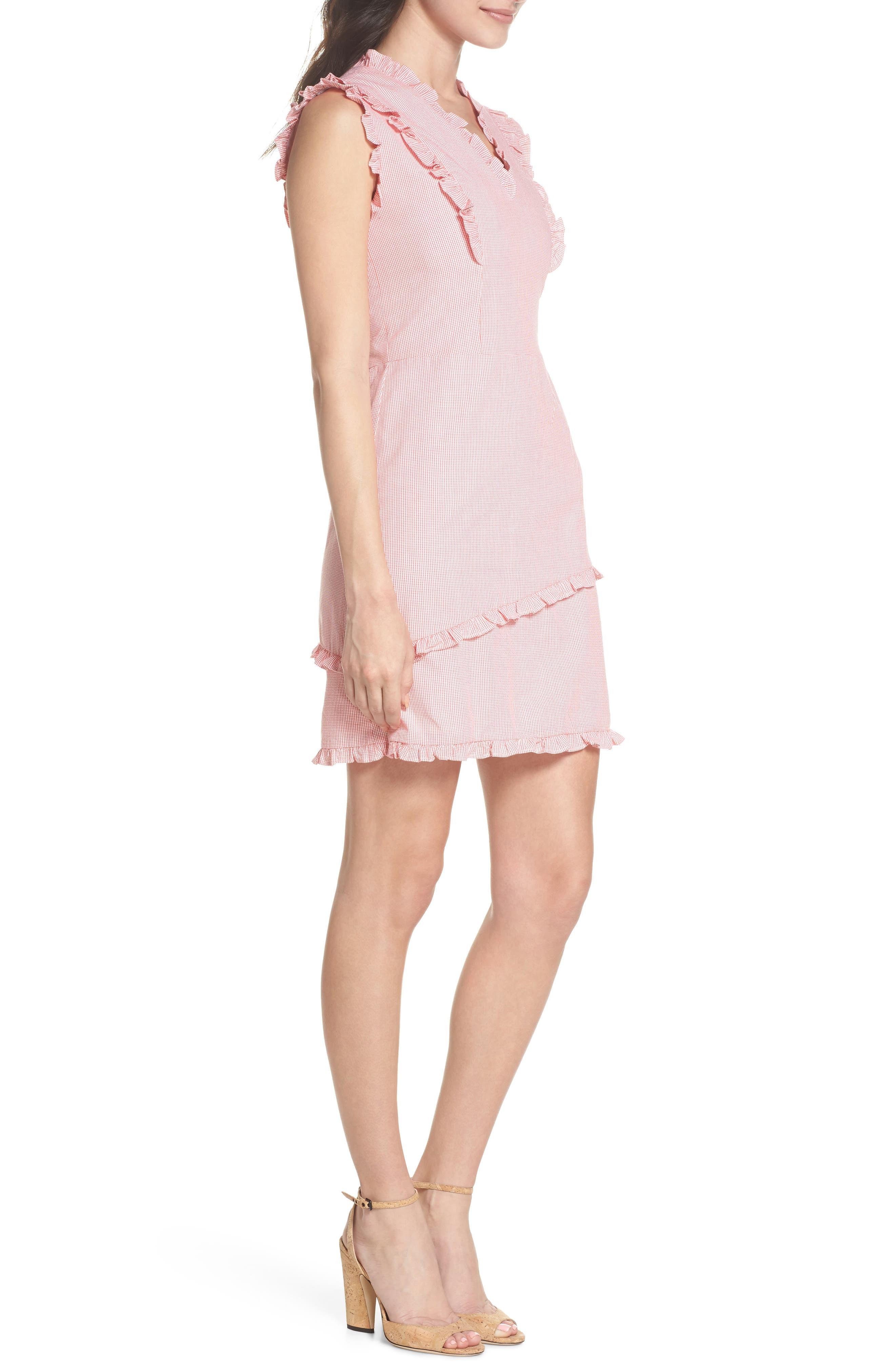 Ruffle V-Neck Sheath Dress,                             Alternate thumbnail 3, color,