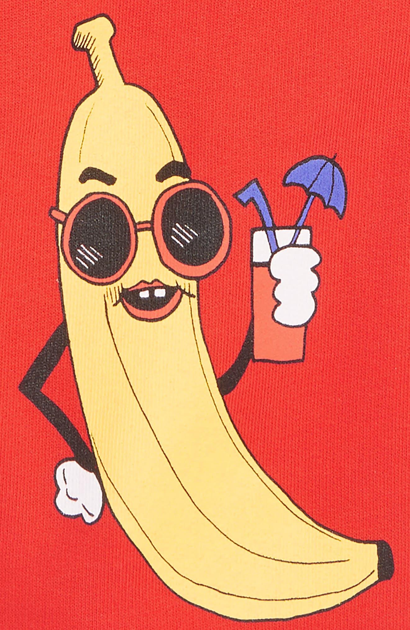 MINI RODINI,                             Banana Sweat Shorts,                             Alternate thumbnail 2, color,                             RED