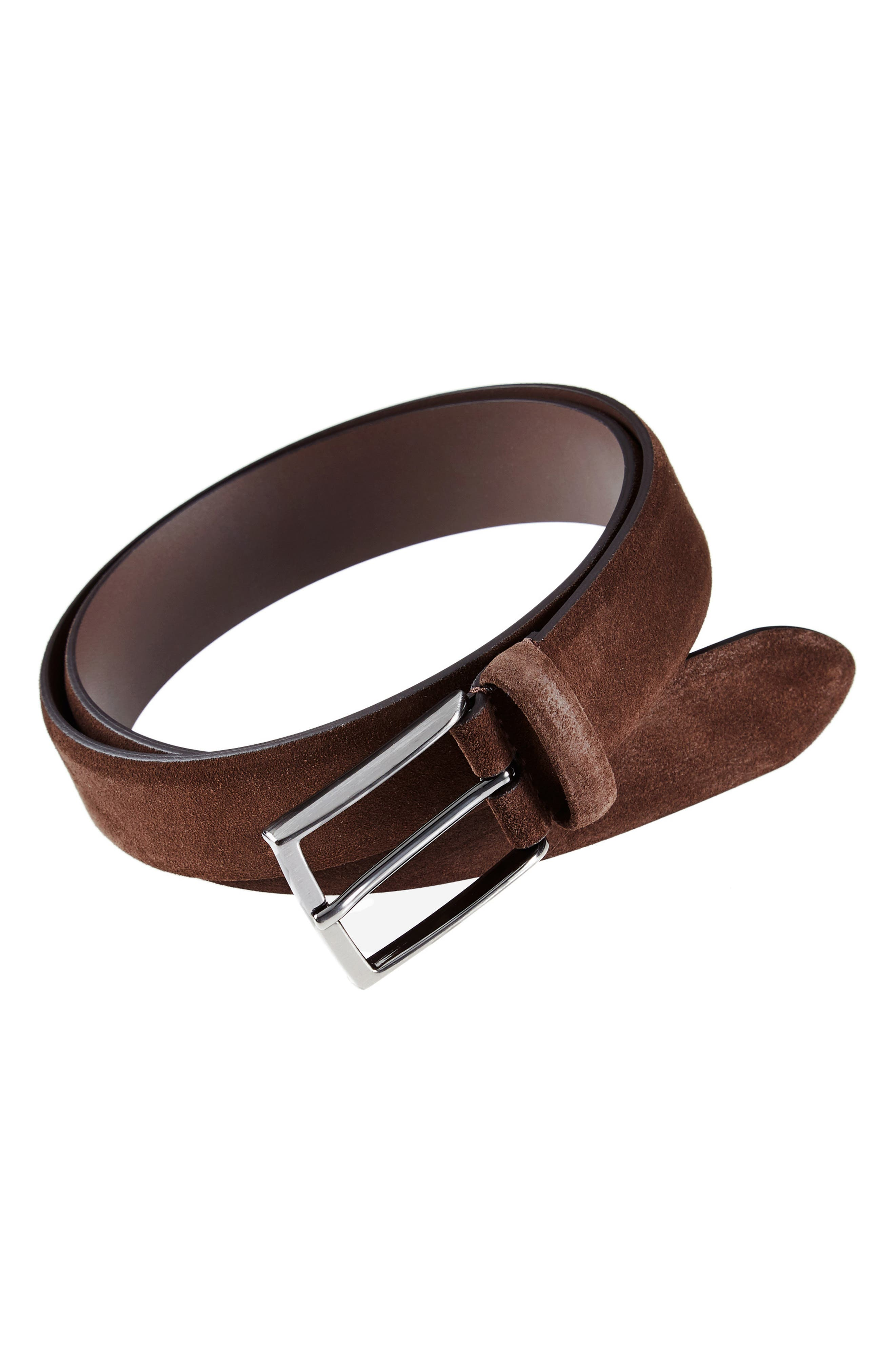 ANDERSONS Suede Belt in Mid Brown