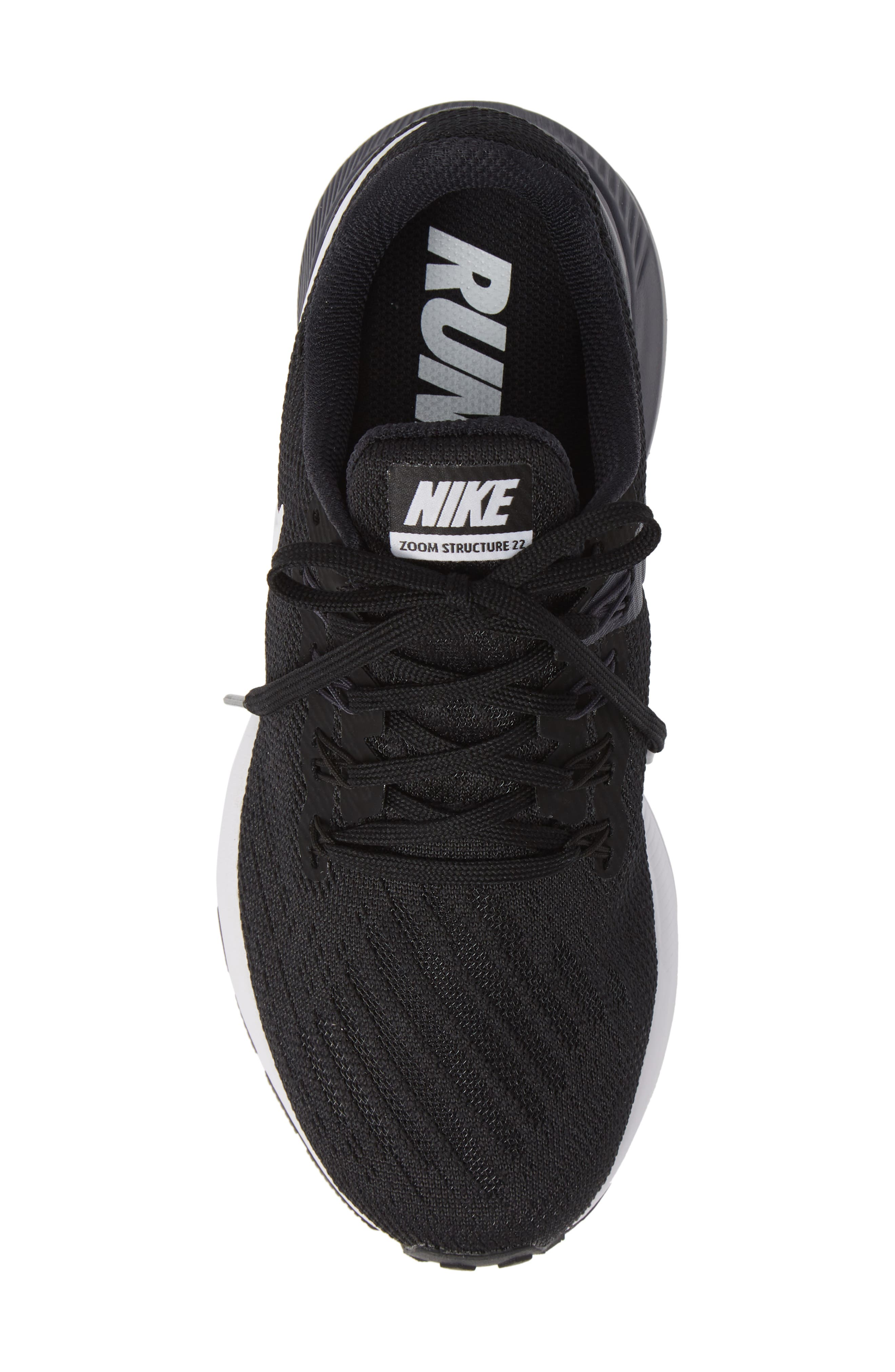 Air Zoom Structure 22 Sneaker,                             Alternate thumbnail 5, color,                             BLACK/ WHITE-GRIDIRON