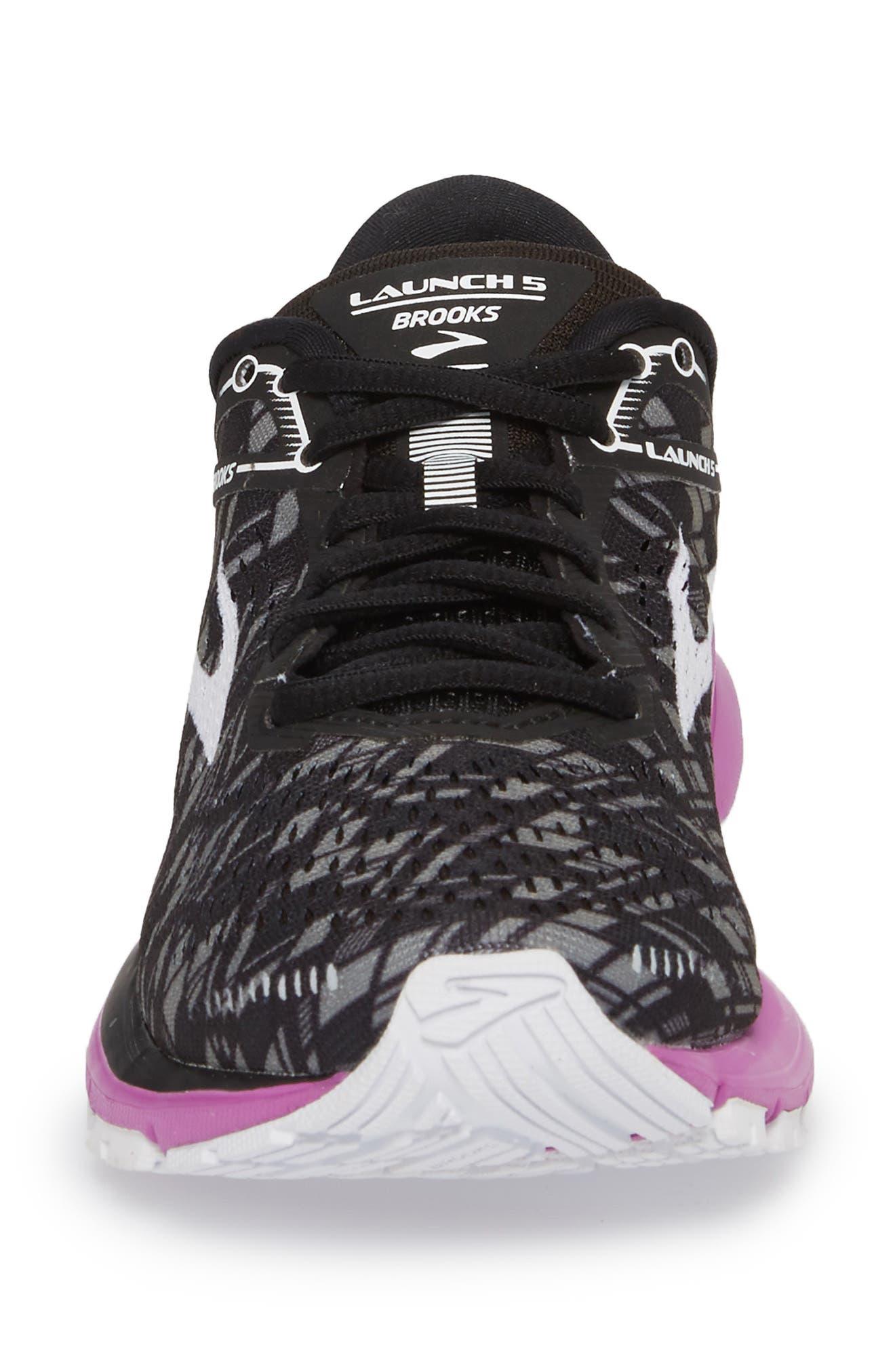Launch 5 Running Shoe,                             Alternate thumbnail 4, color,                             BLACK/ PURPLE/ PRINT