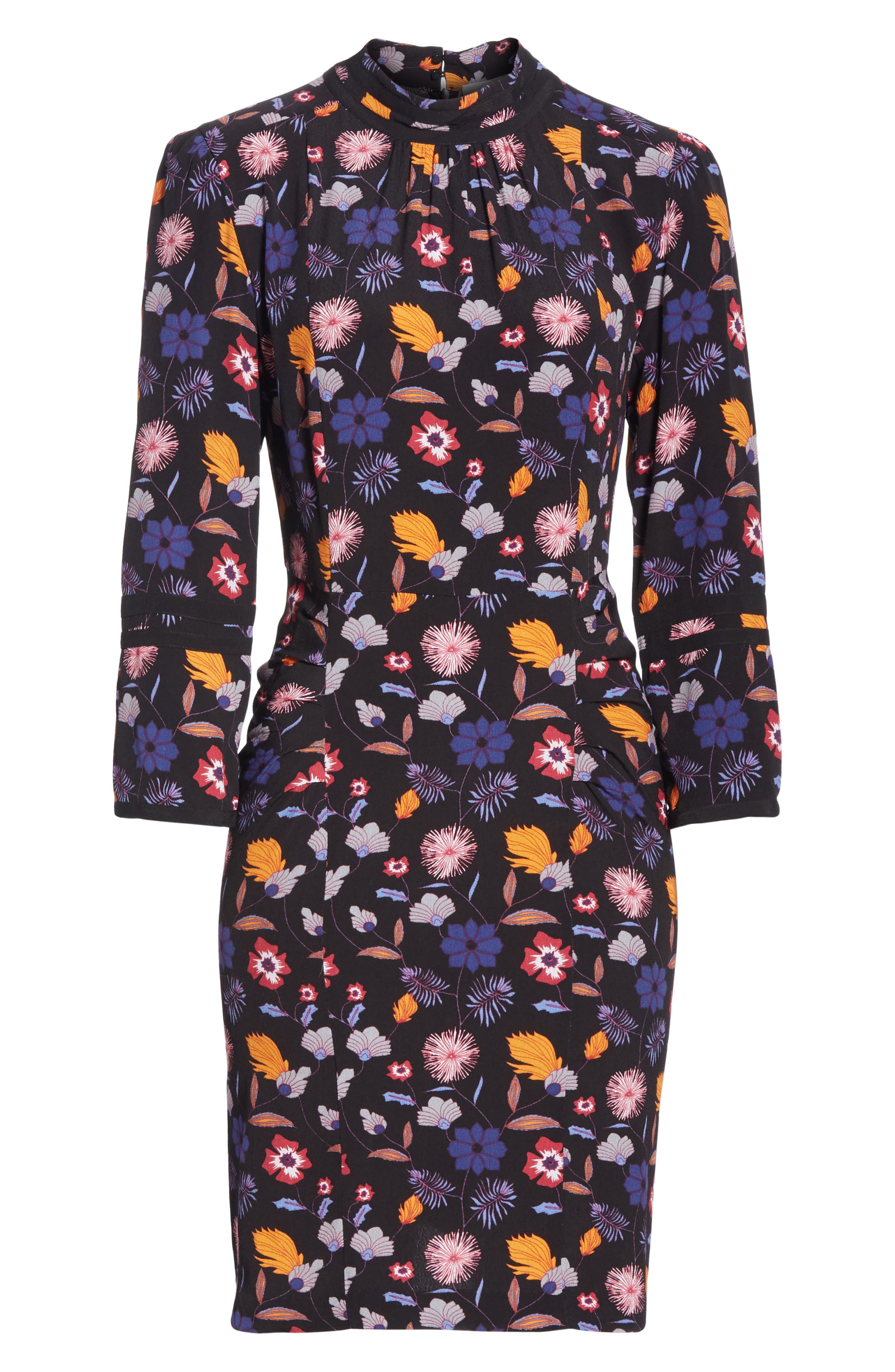 Maha High Neck Botanical Mini Dress,                             Alternate thumbnail 6, color,                             001