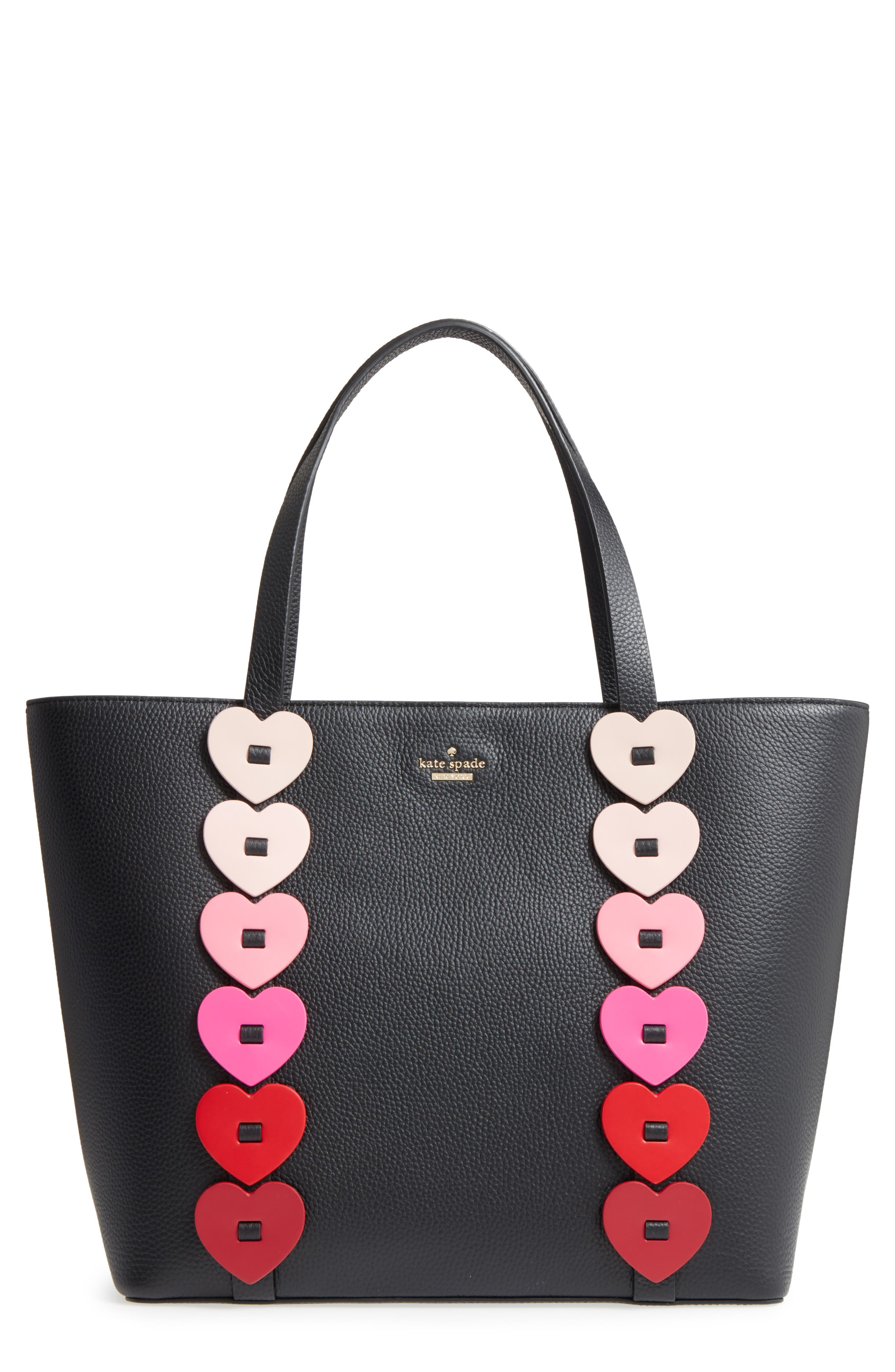 yours truly - ombré heart leather tote,                             Main thumbnail 1, color,