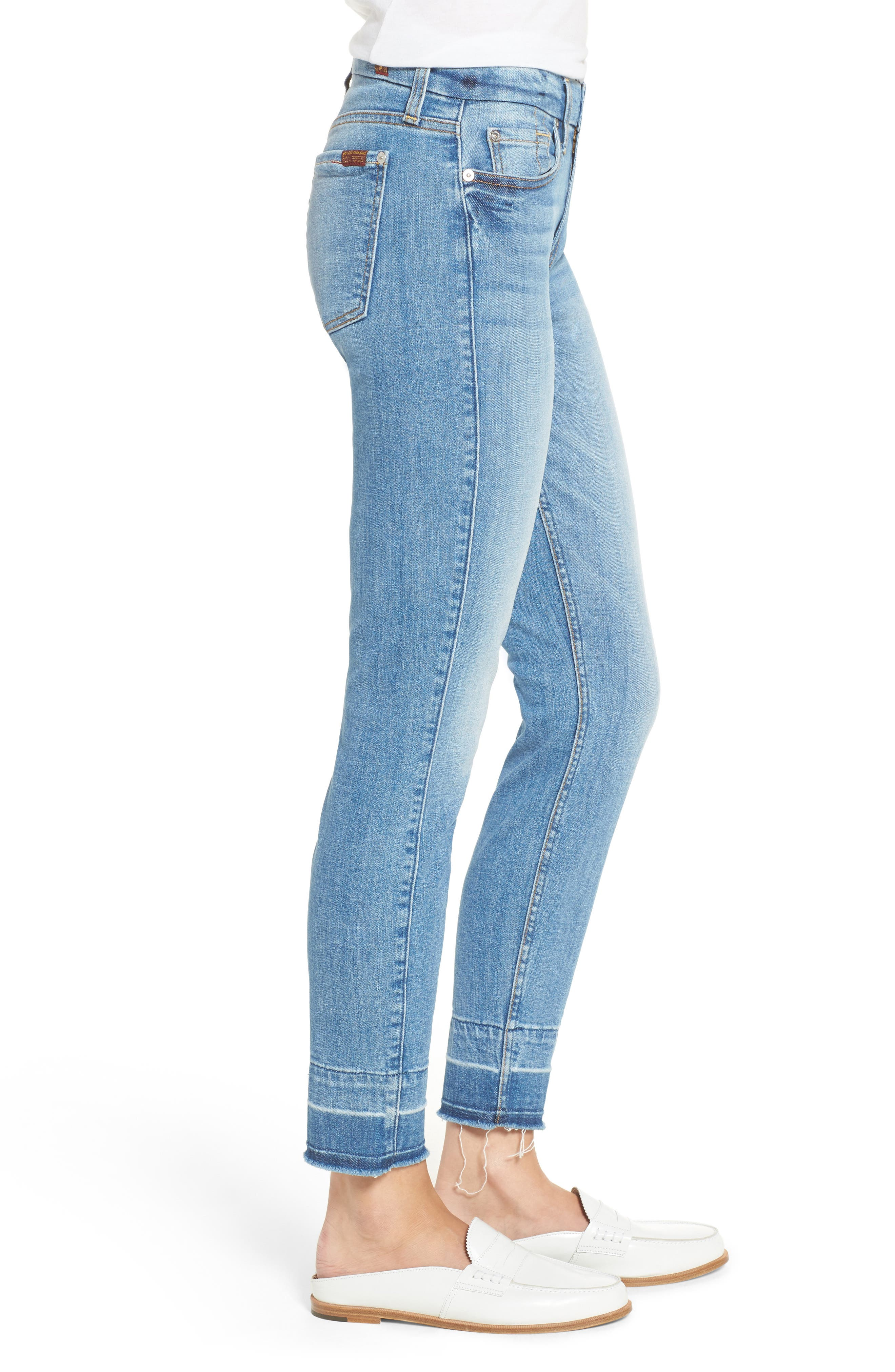 7 FOR ALL MANKIND<SUP>®</SUP>,                             The Ankle Release Hem Skinny Jeans,                             Alternate thumbnail 3, color,                             400