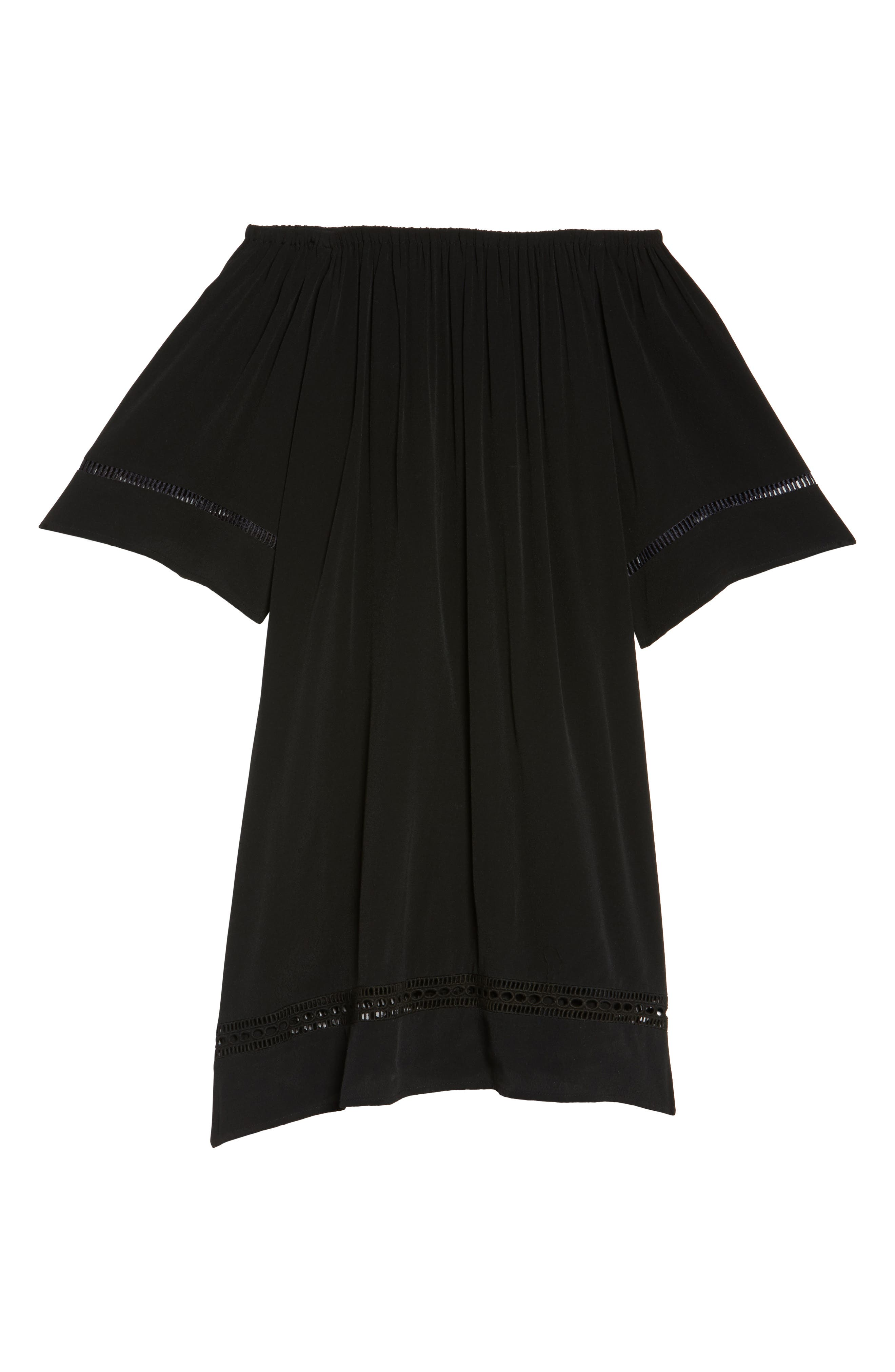 City Wide Off the Shoulder Cover-Up Dress,                             Alternate thumbnail 6, color,                             001
