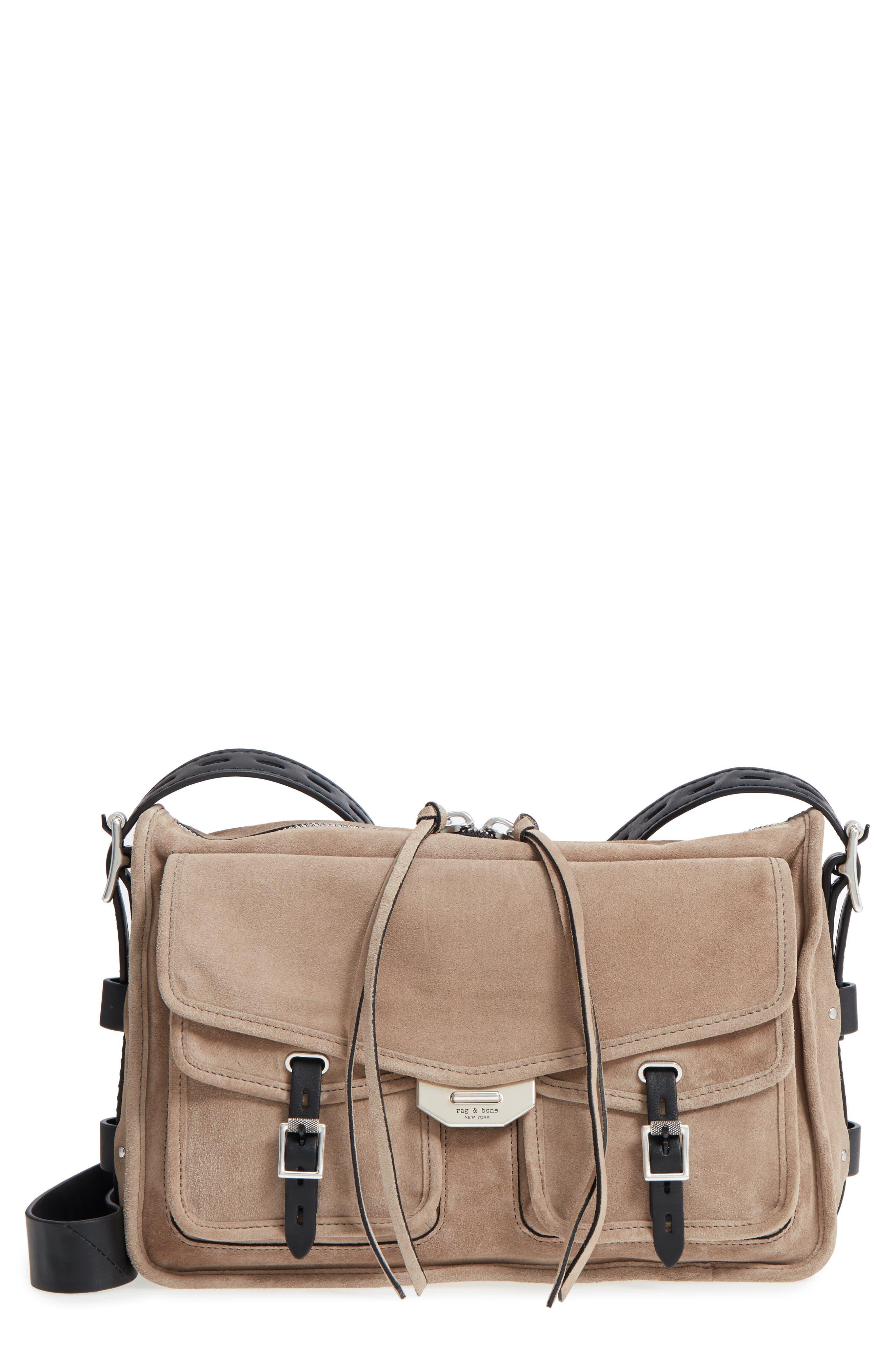 Field Suede Messenger Bag,                         Main,                         color, WARM GREY SUEDE
