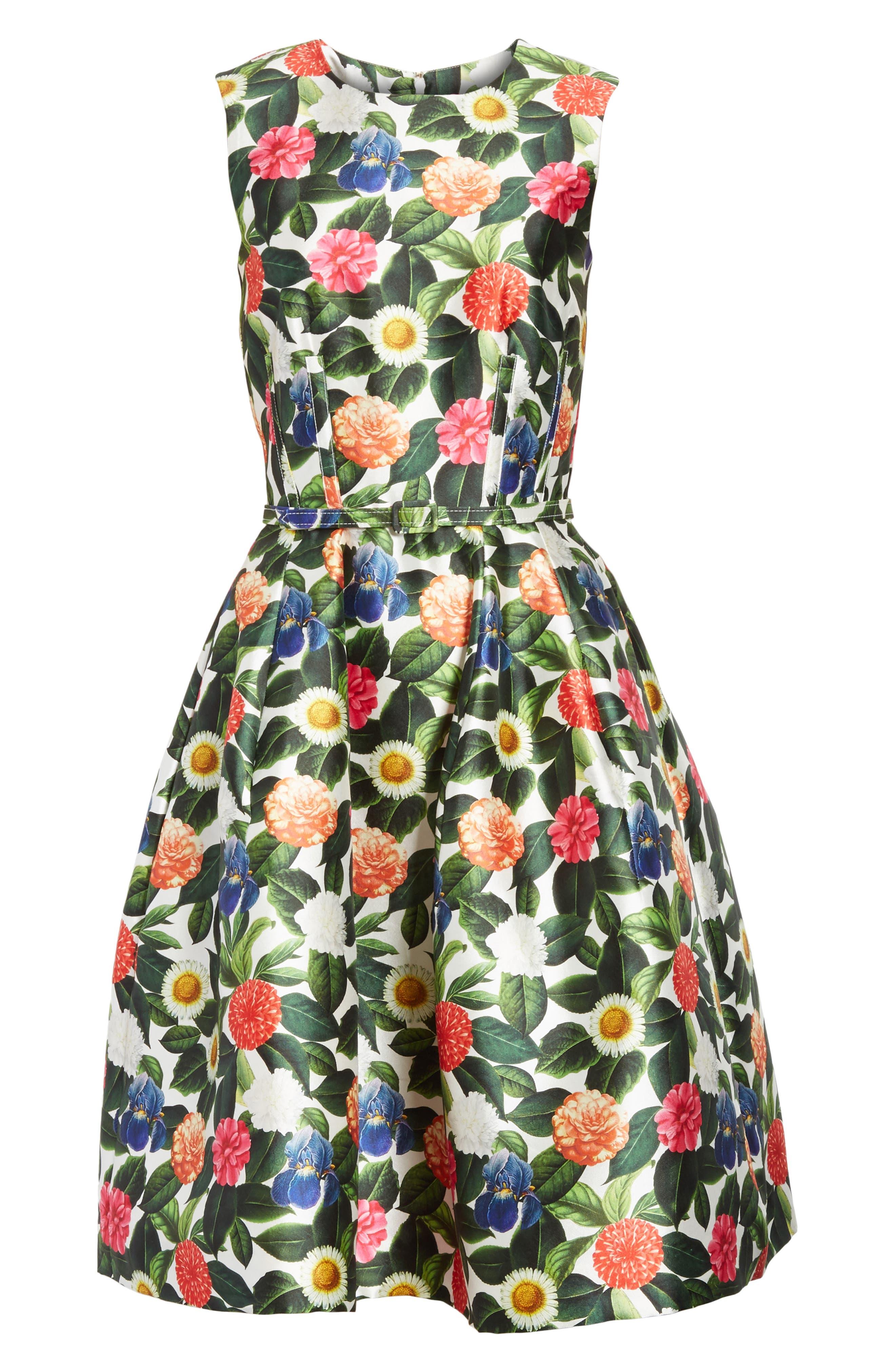 Floral Silk Mikado Fit & Flare Dress,                             Alternate thumbnail 6, color,                             300