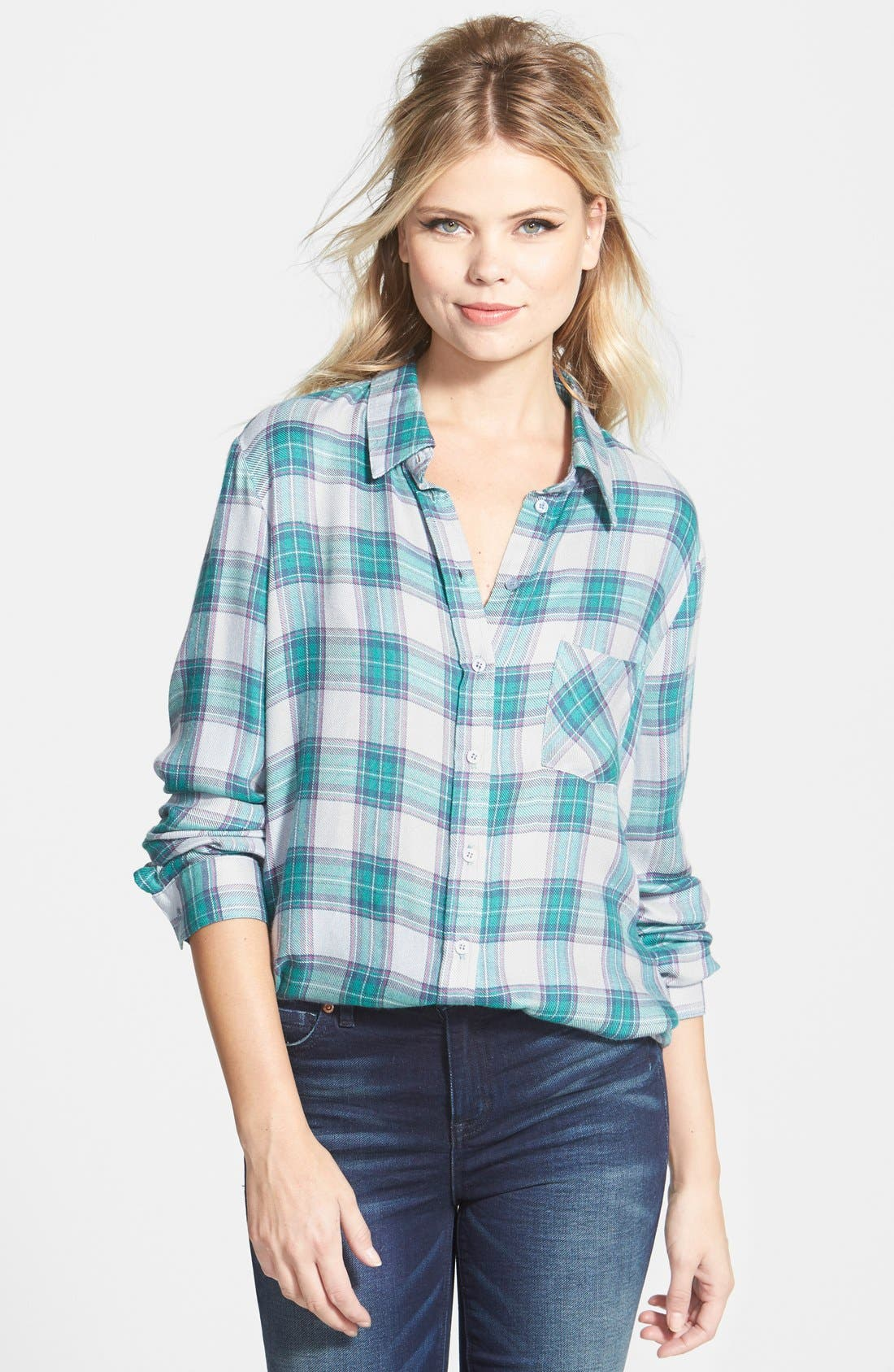 Long Sleeve Plaid Blouse,                         Main,                         color,
