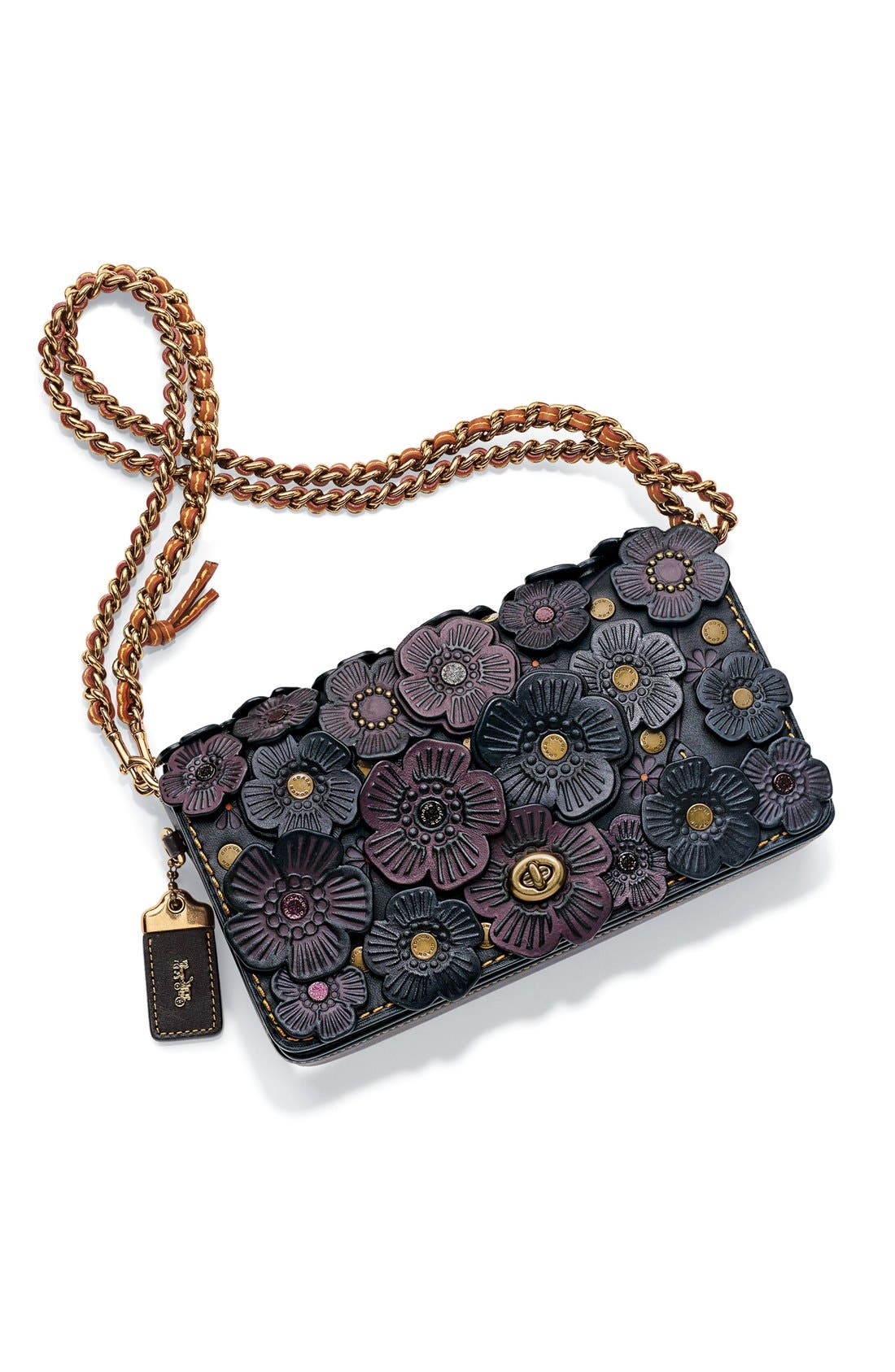 'Dinky' Flower Appliqué Leather Crossbody Bag,                             Alternate thumbnail 7, color,                             020