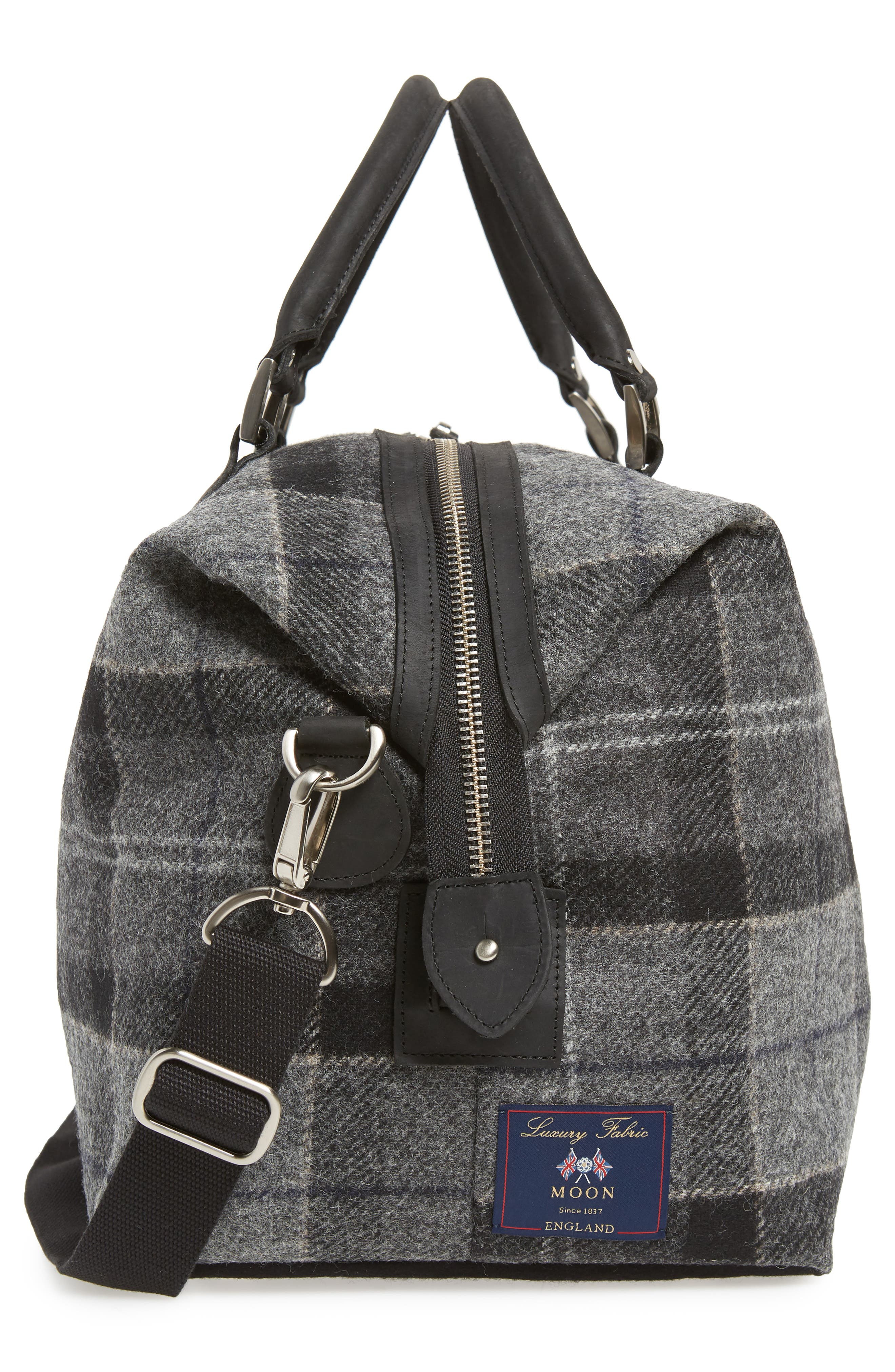 Shadow Duffel Bag,                             Alternate thumbnail 5, color,                             BLACK/ GREY TARTAN
