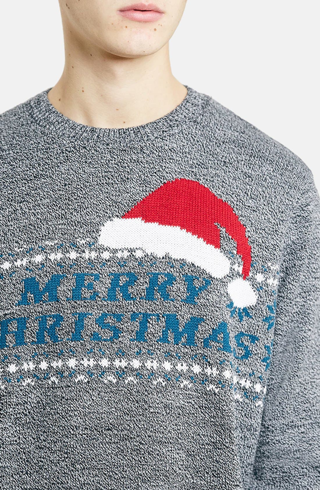 TOPMAN,                             Merry Christmas Crewneck Sweater,                             Alternate thumbnail 3, color,                             400