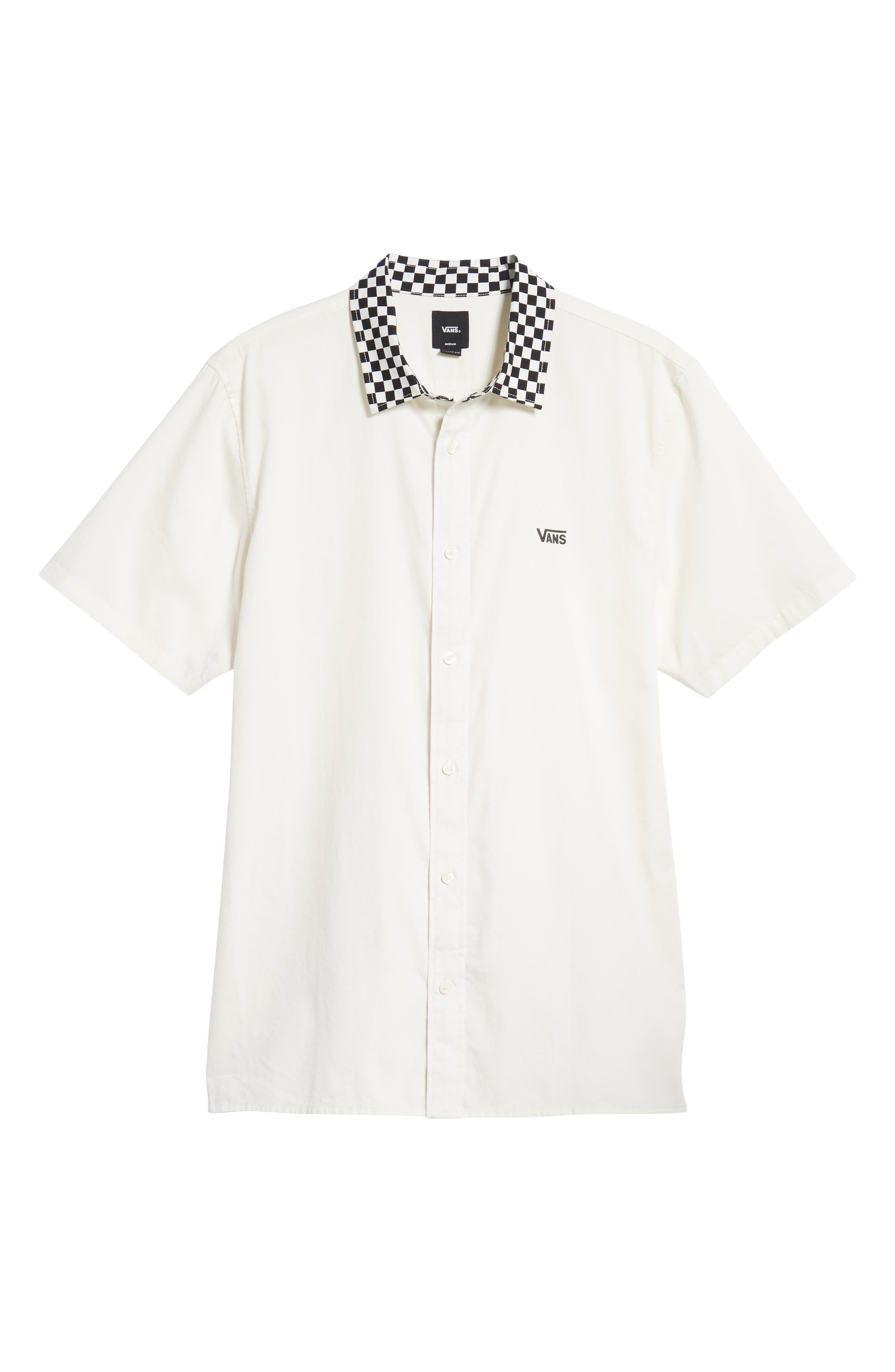 Check Collar Short Sleeve Shirt,                             Alternate thumbnail 6, color,                             OFF WHITE