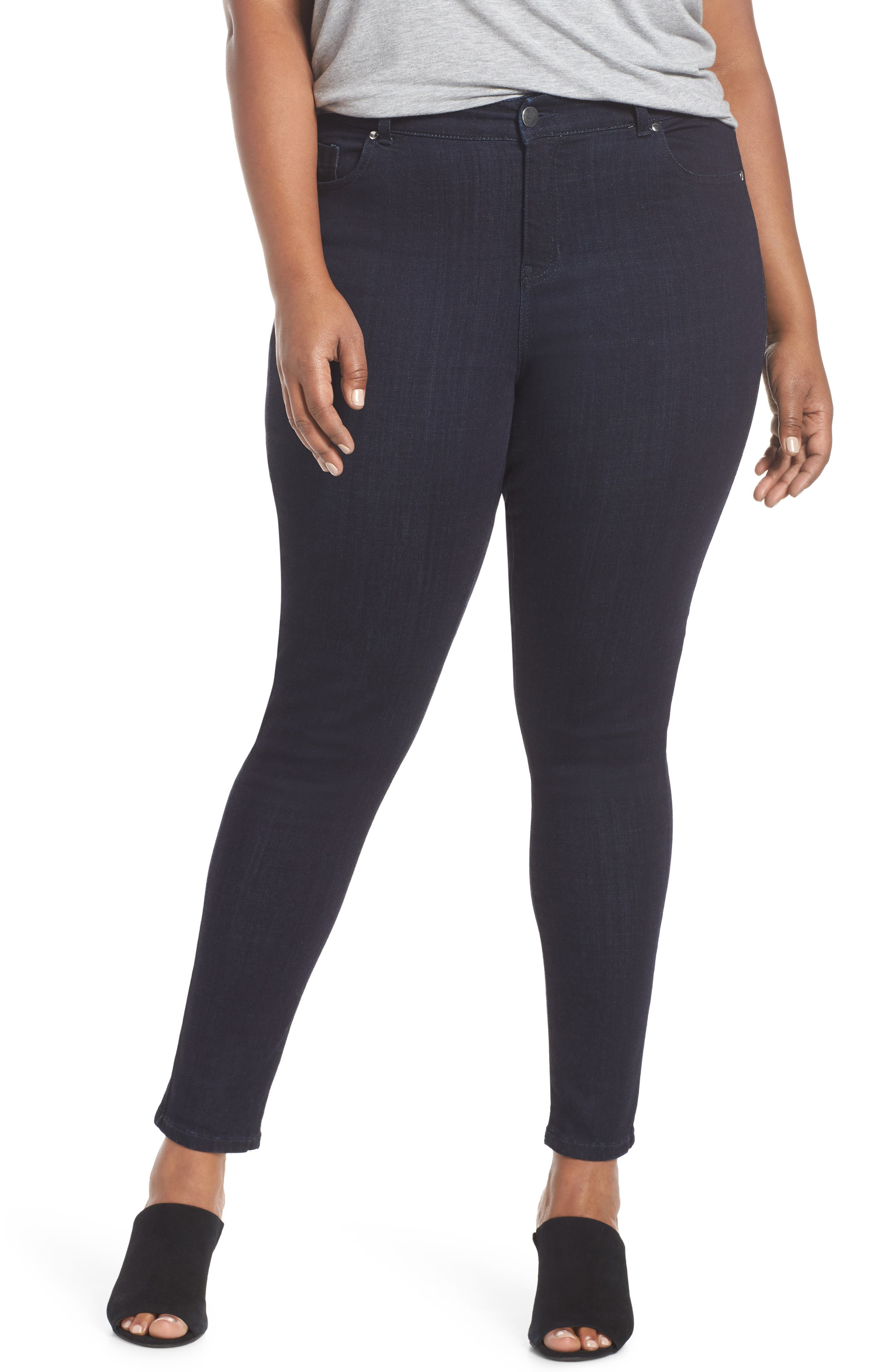 Stretch Skinny Jeans,                             Main thumbnail 1, color,                             DARK RINSE