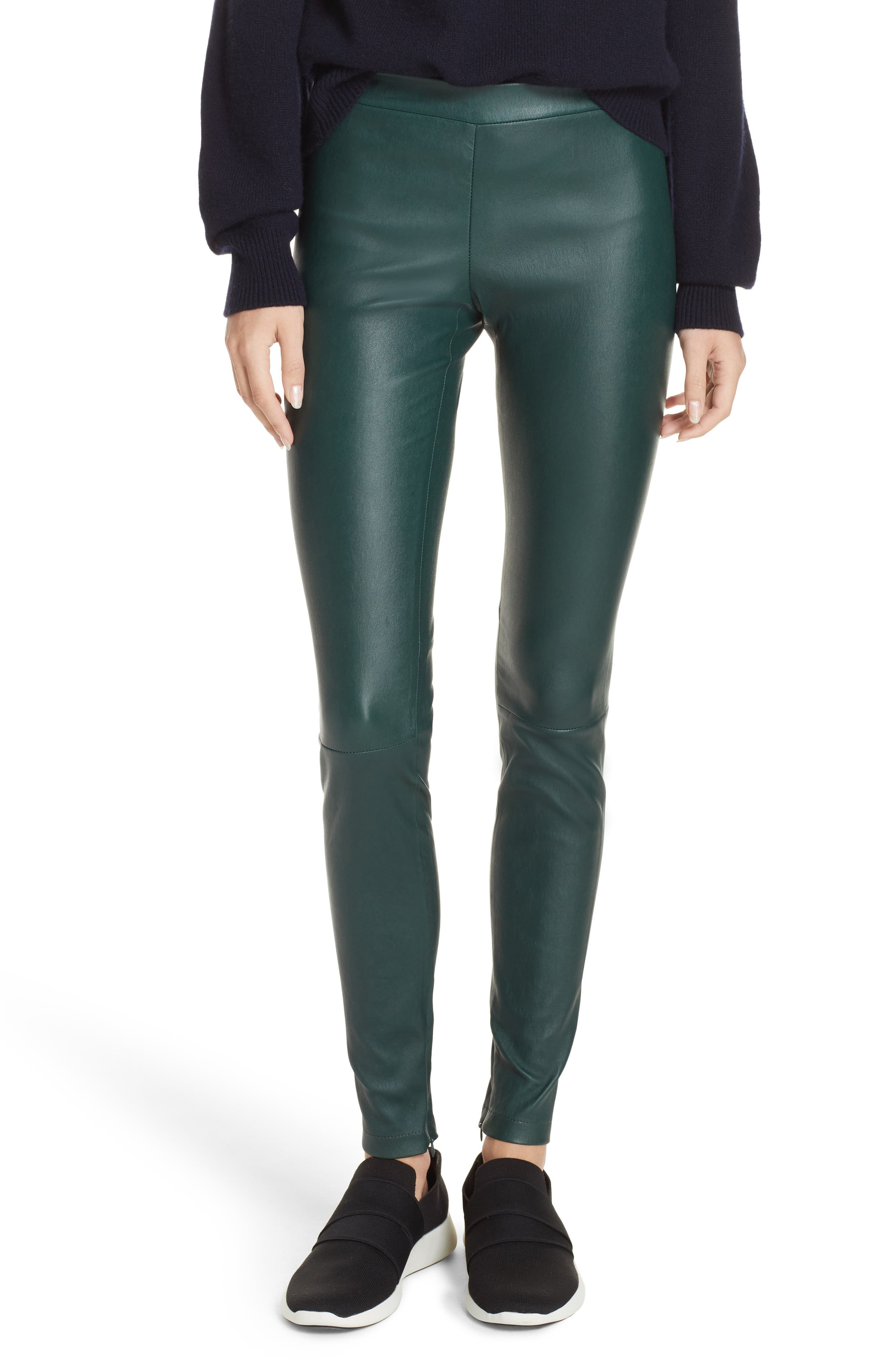 Vince Ankle Zip Leather Leggings, Green