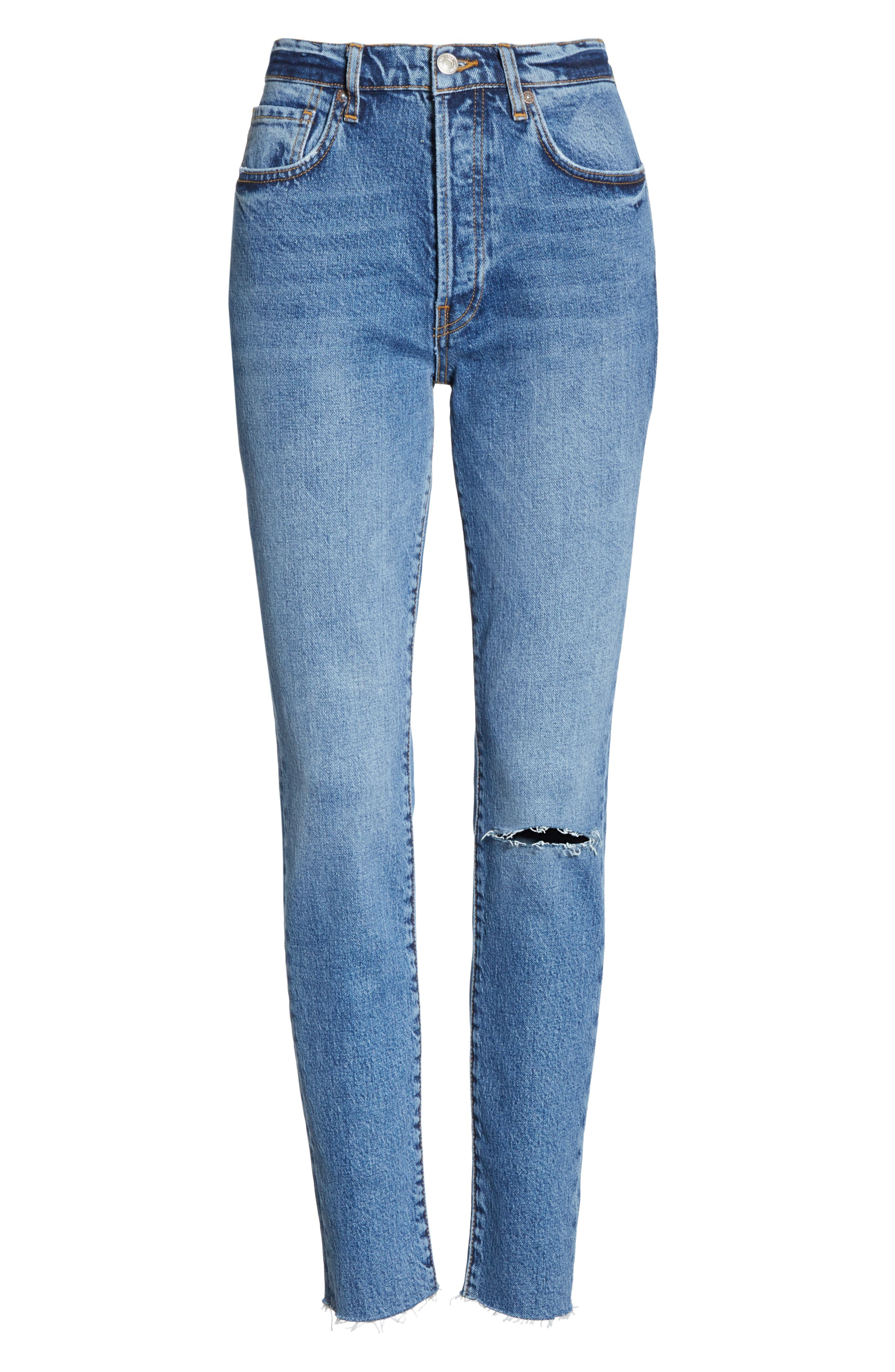 We the Free by Free People Stella High Waist Raw Hem Skinny Jeans,                             Alternate thumbnail 7, color,                             DARK BLUE