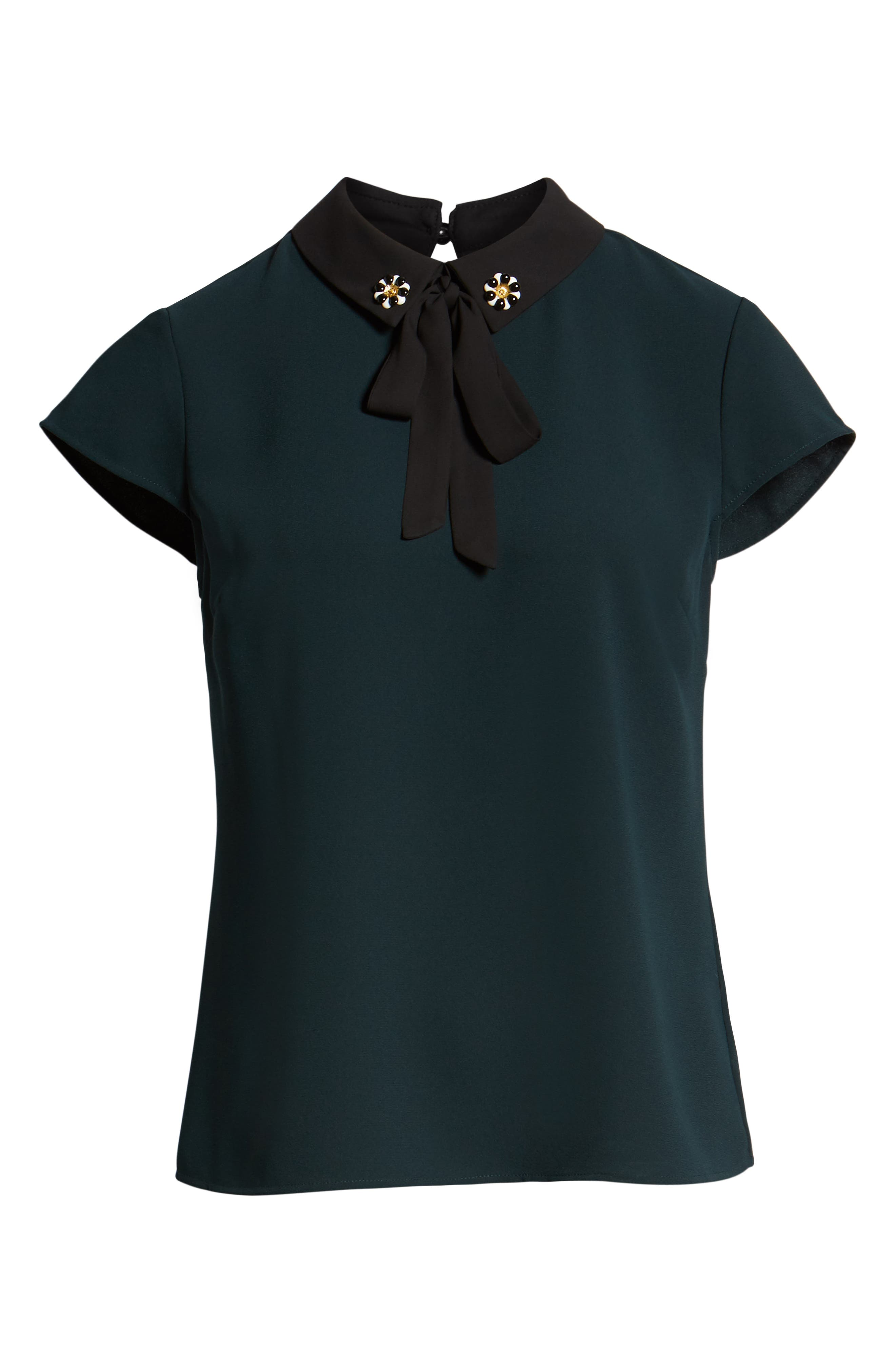 Embellished Bow Collar Blouse,                             Alternate thumbnail 6, color,                             305