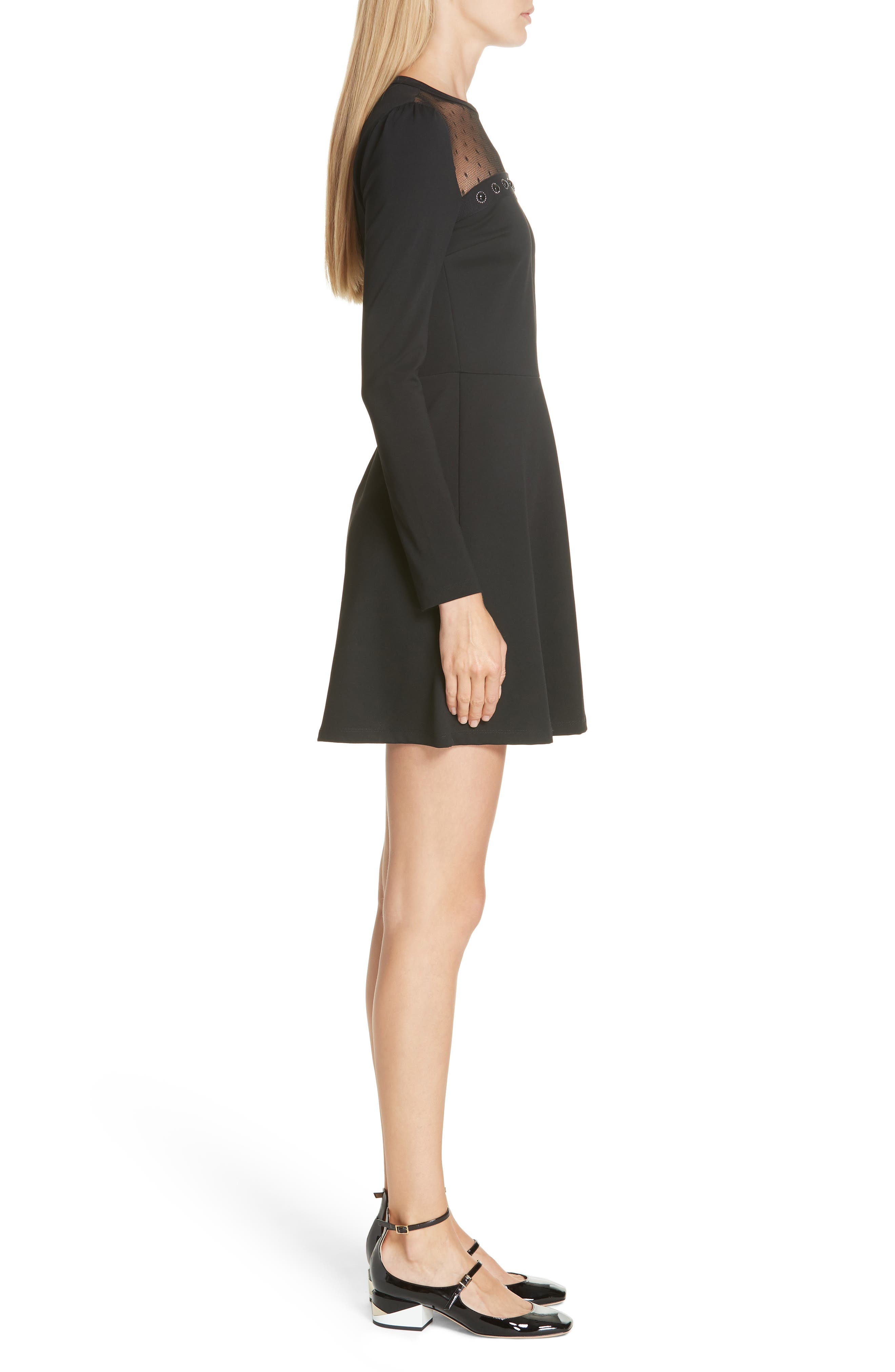 Point d'Esprit Yoke Dress,                             Alternate thumbnail 3, color,                             BLACK