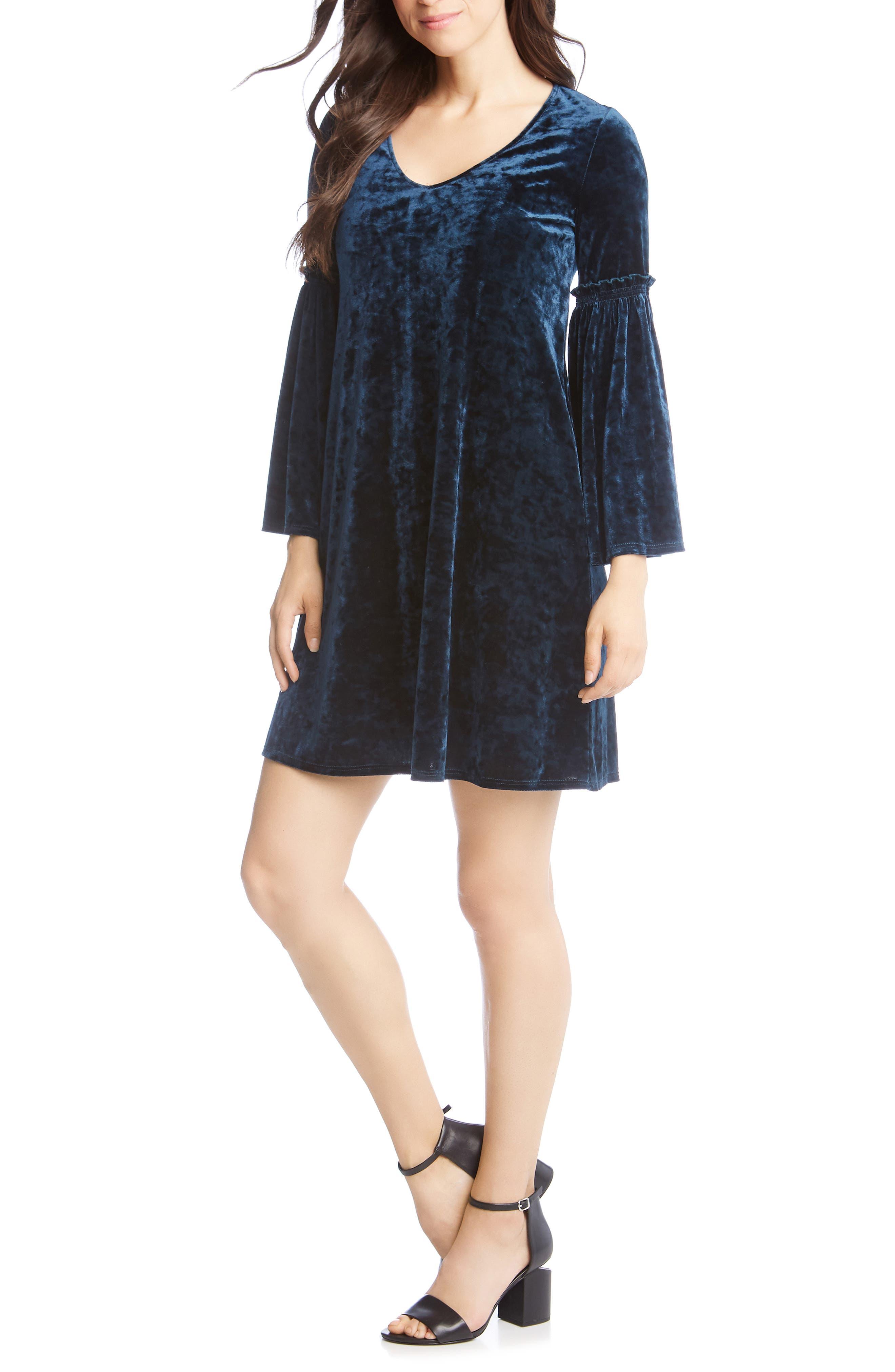 Bell Sleeve Velvet Dress,                         Main,                         color, TEAL