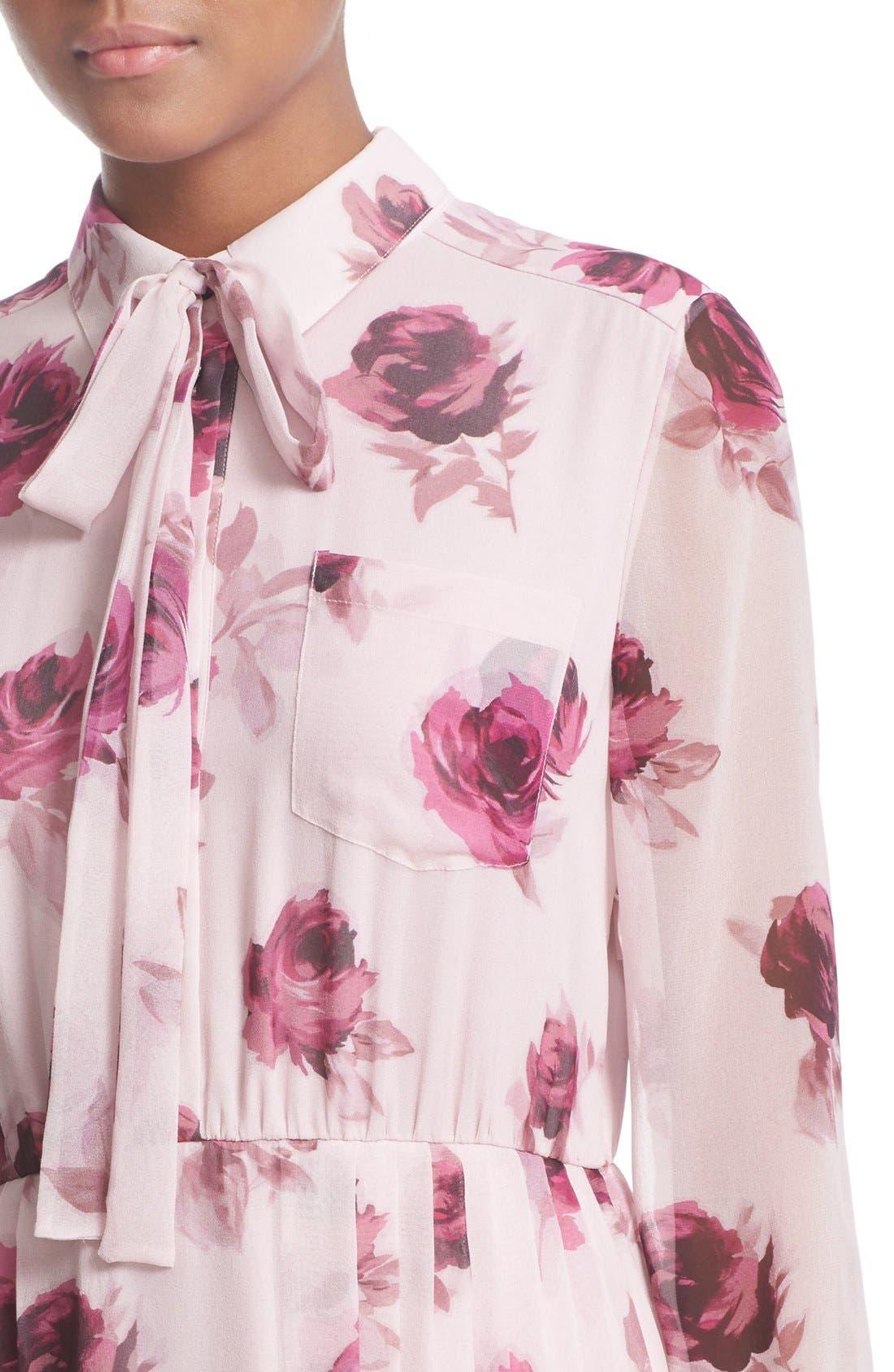 'encore rose' tie neck pleat chiffon dress,                             Alternate thumbnail 3, color,                             651