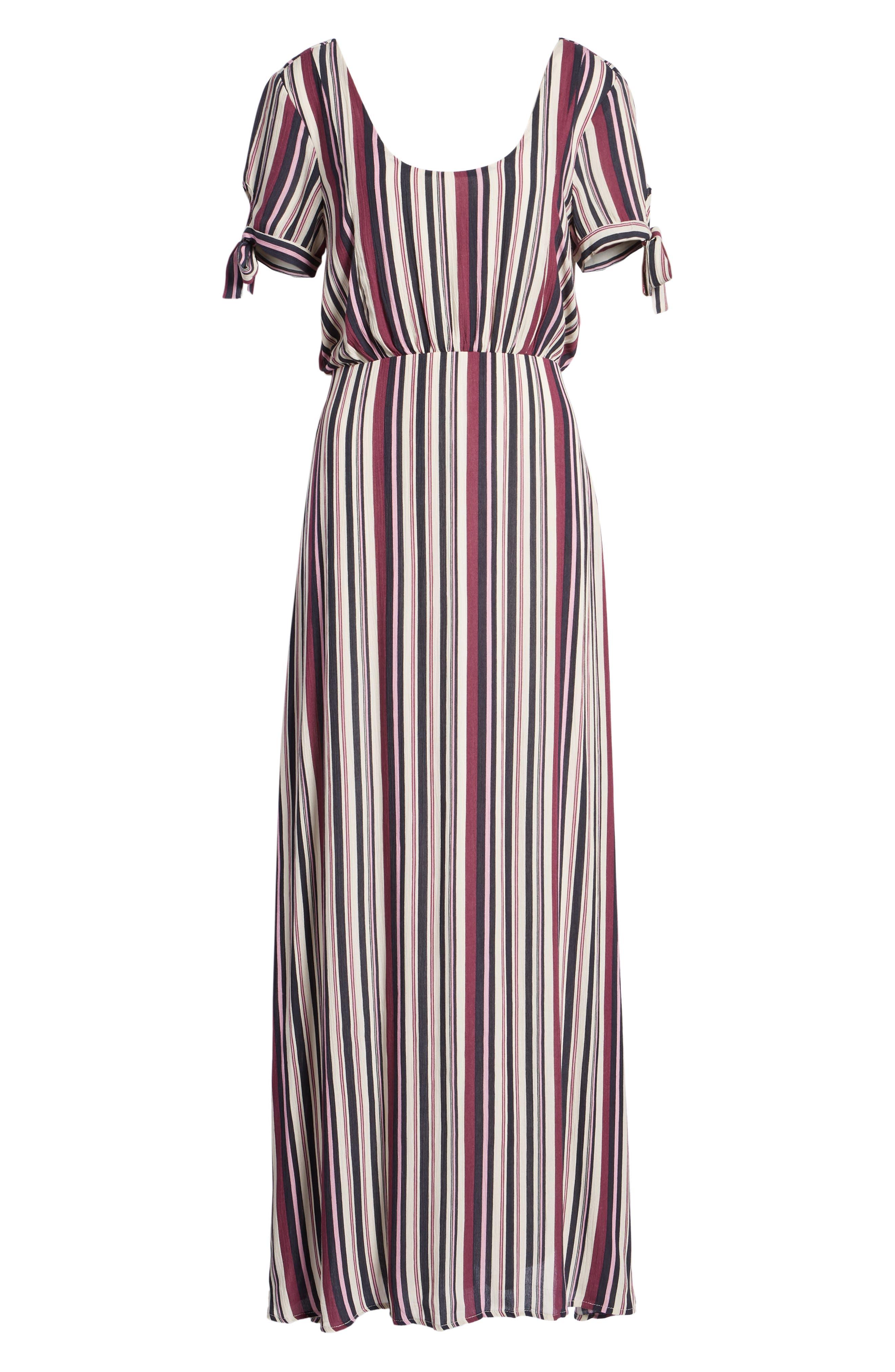 Tie Sleeve Maxi Dress,                             Alternate thumbnail 7, color,                             MULTI STRIPE