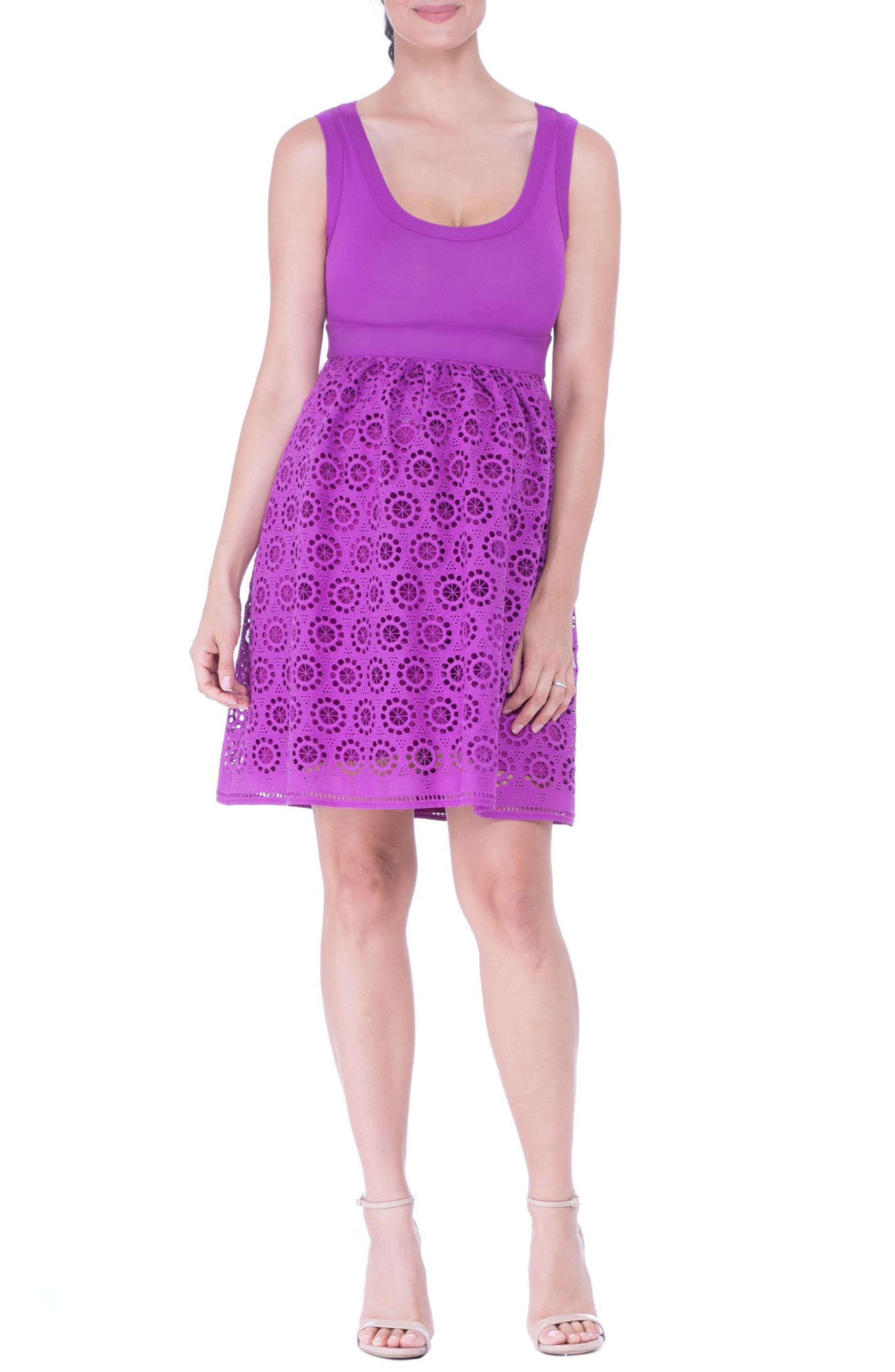 Crochet Maternity Dress,                         Main,                         color, ORCHID