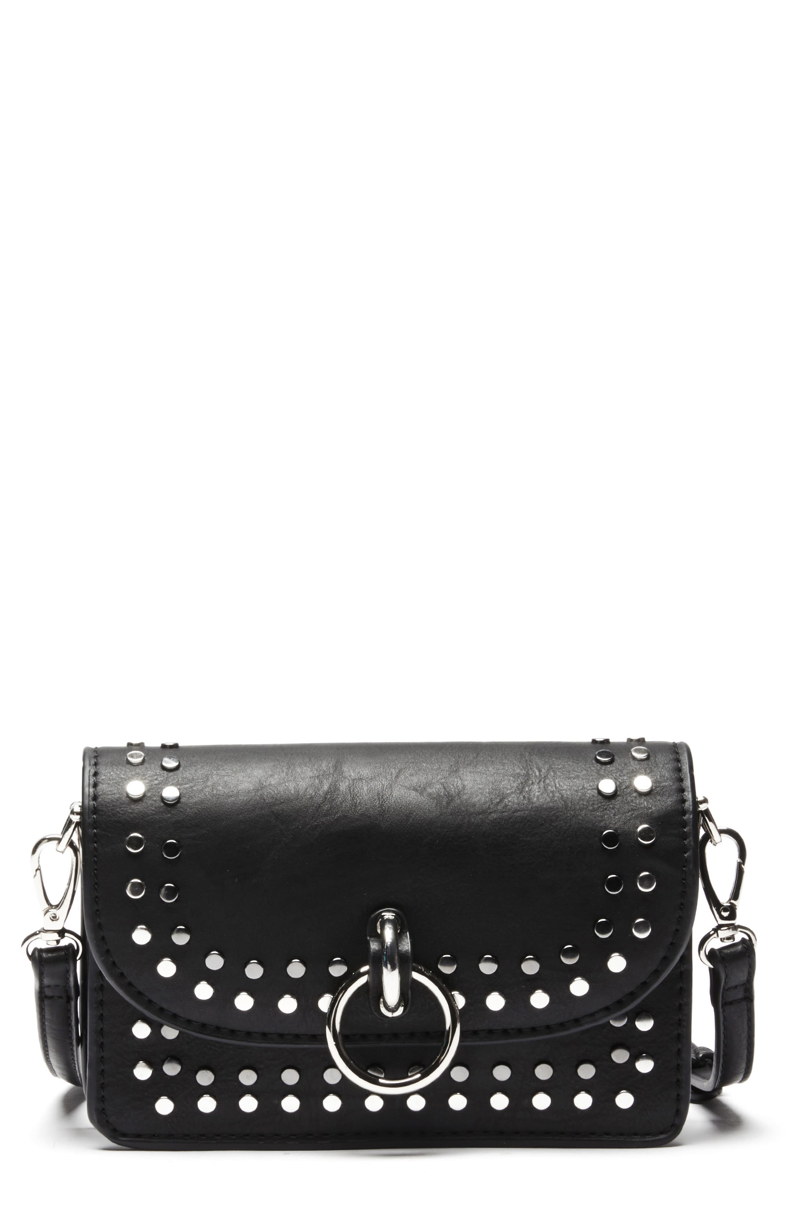 Studded Faux Leather Crossbody Bag,                         Main,                         color, 001