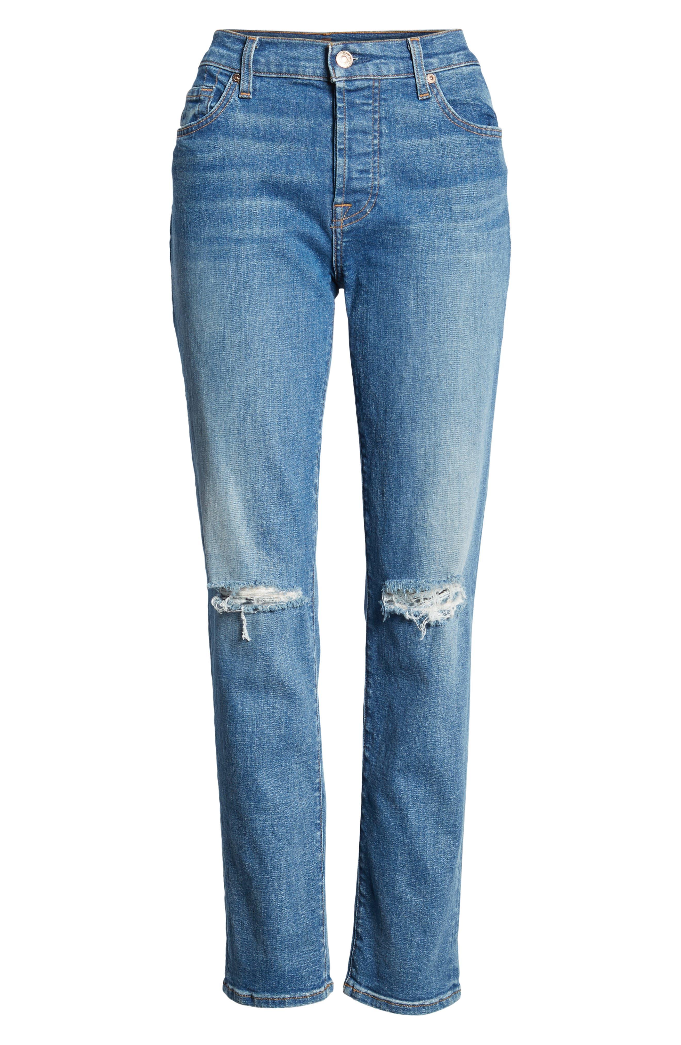 Josefina Ripped Boyfriend Jeans,                             Alternate thumbnail 7, color,                             400
