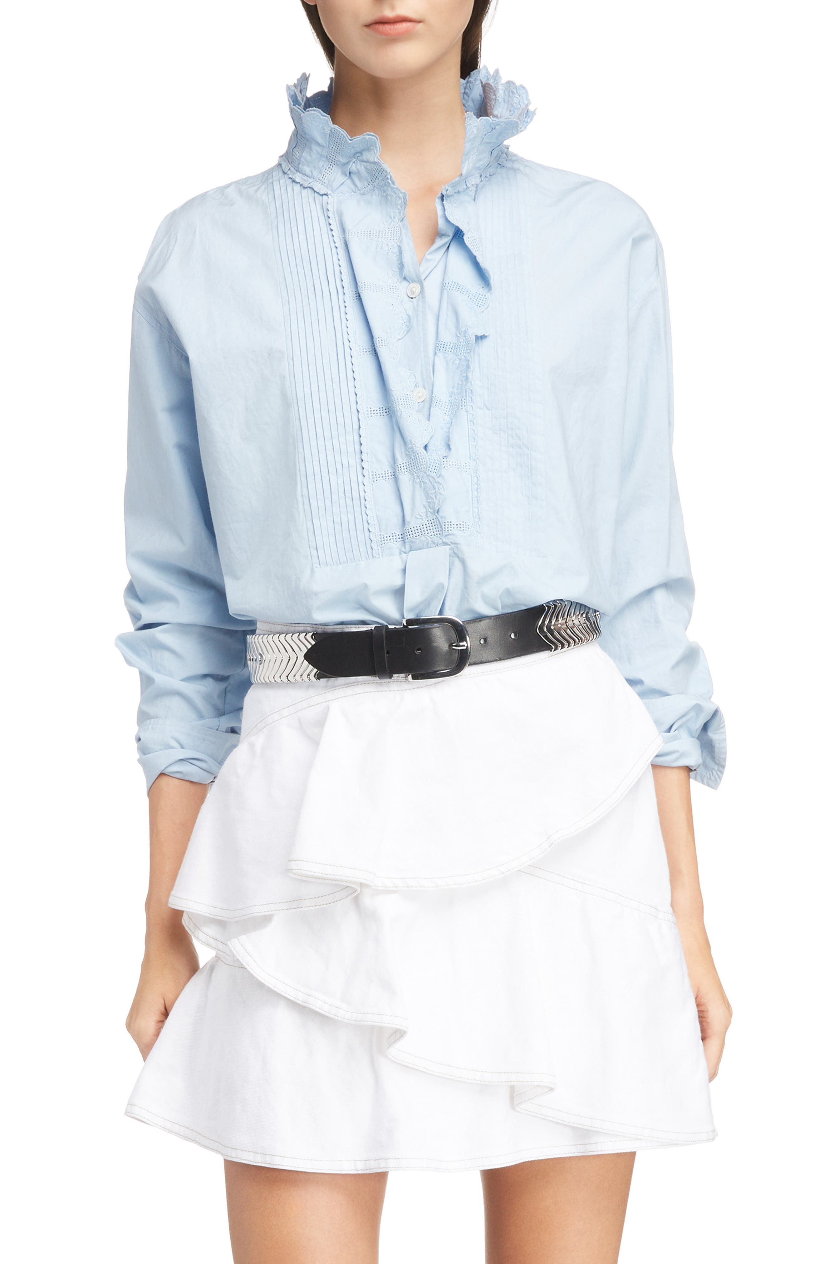 Mora Embroidered Ruffle Neck Blouse,                             Main thumbnail 1, color,                             432
