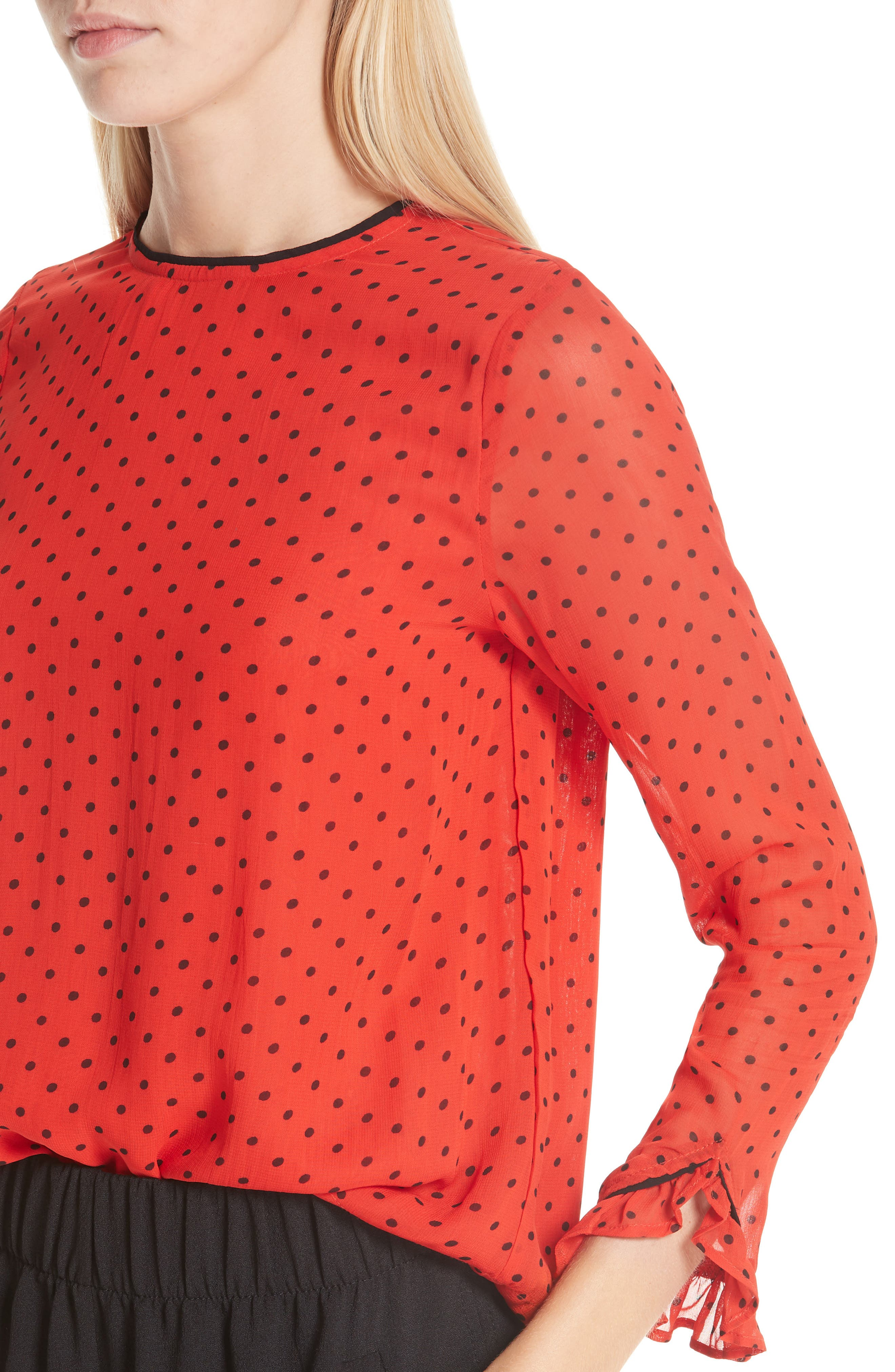 Mullin Print Georgette Blouse,                             Alternate thumbnail 4, color,                             FIERY RED 403