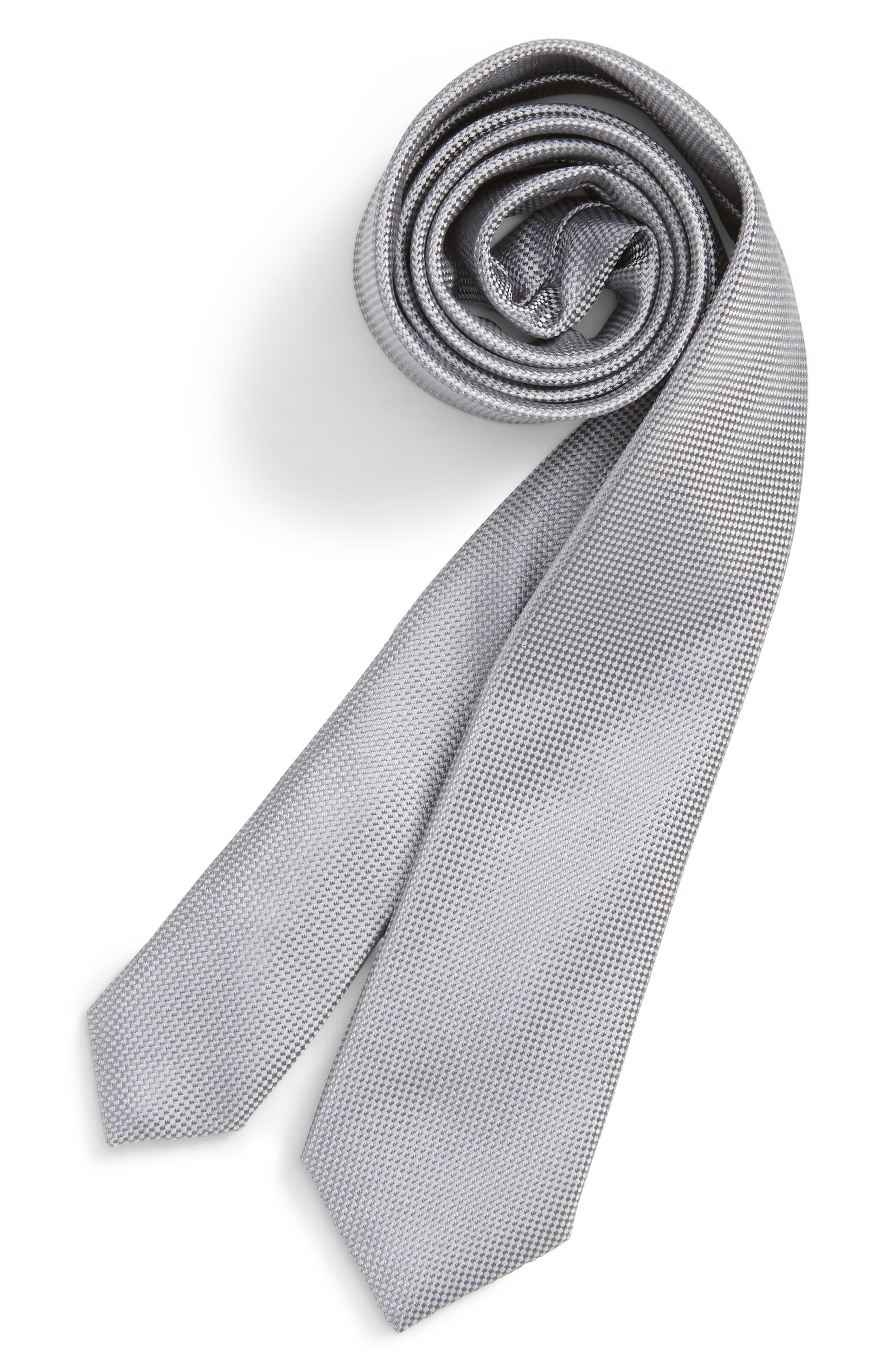 Solid Silk Tie,                         Main,                         color, SILVER