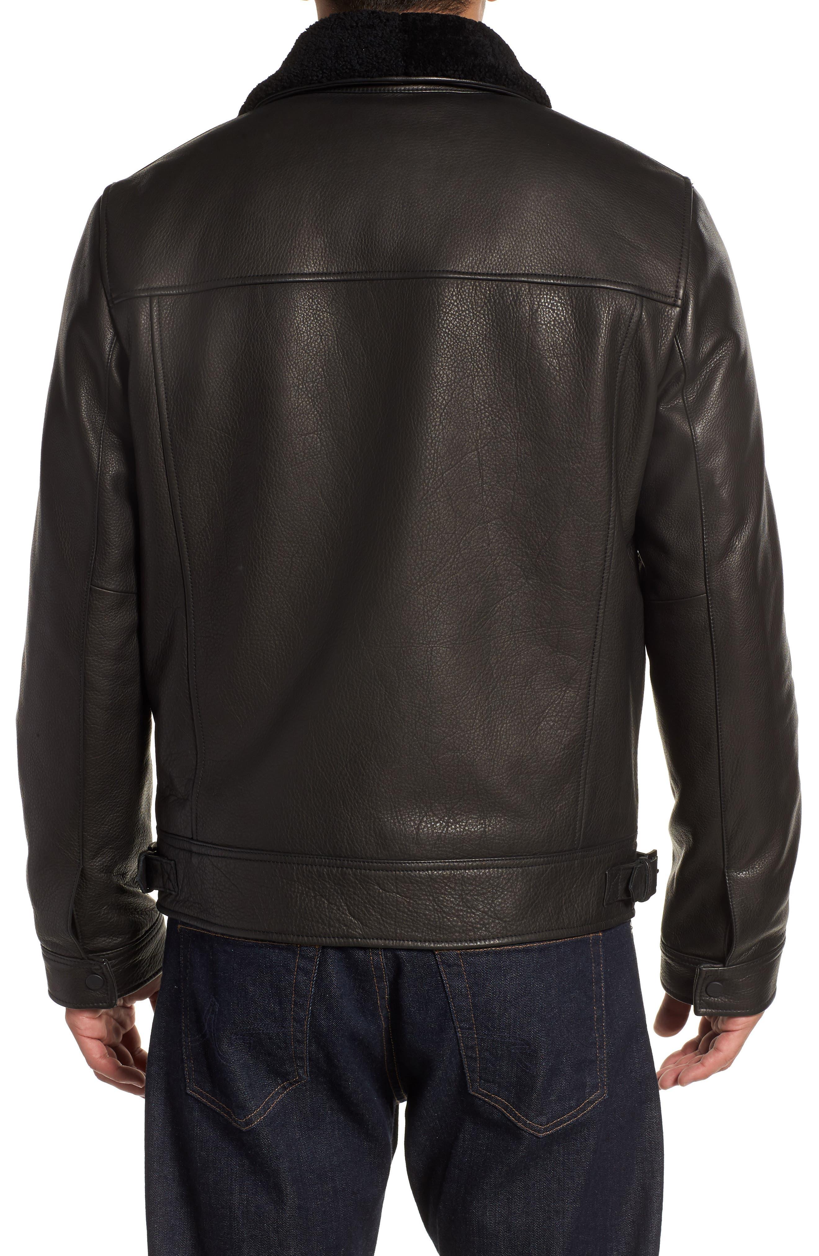 Kilmer Genuine Shearling Bomber Jacket,                             Alternate thumbnail 2, color,                             BLACK