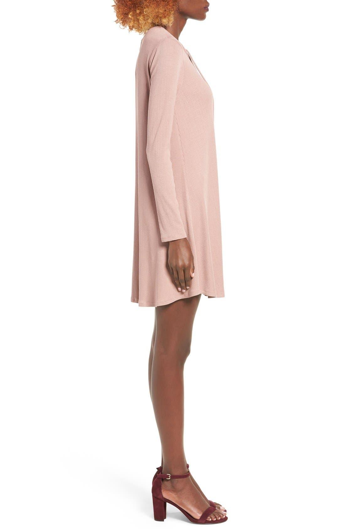 Rib Knit Lace-Up Swing Dress,                             Alternate thumbnail 7, color,