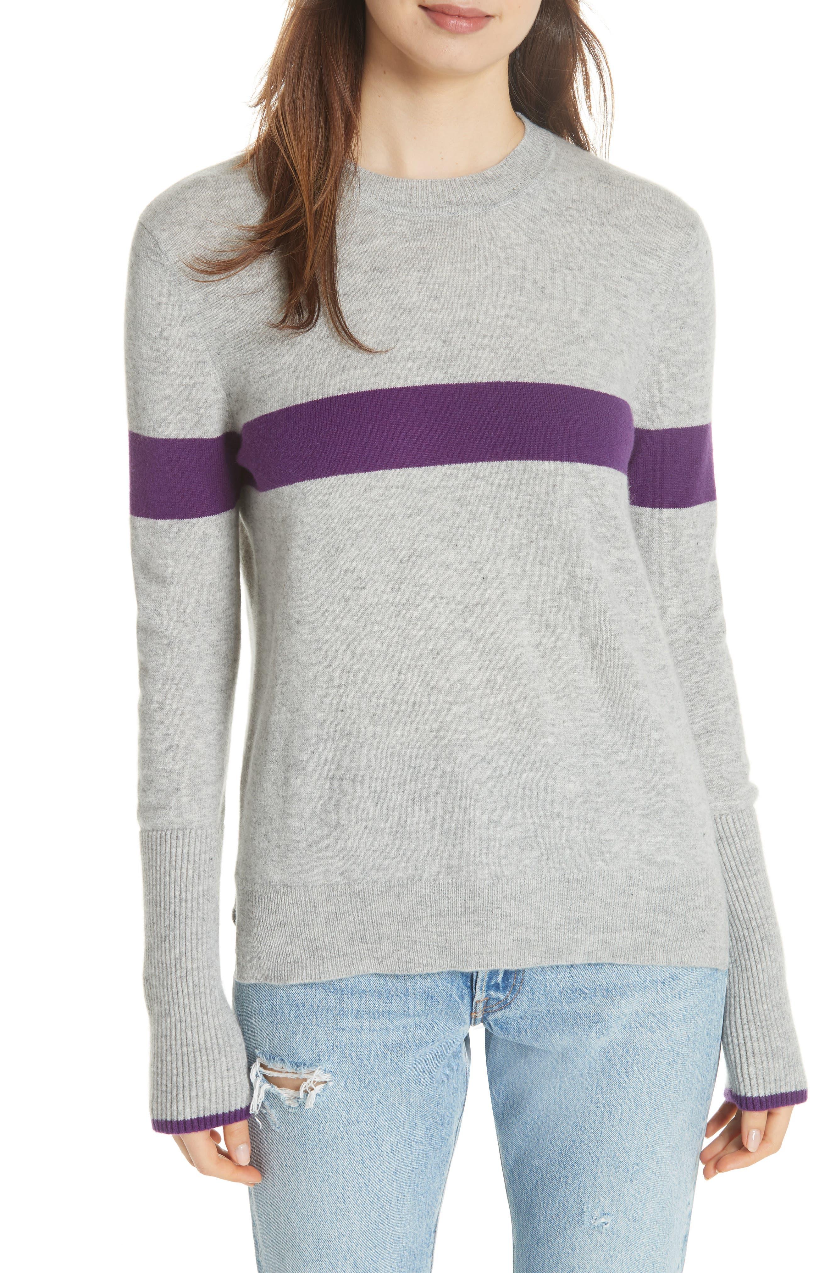 LA LIGNE Bold Stripe Cashmere Sweater in Grey Marle Purple