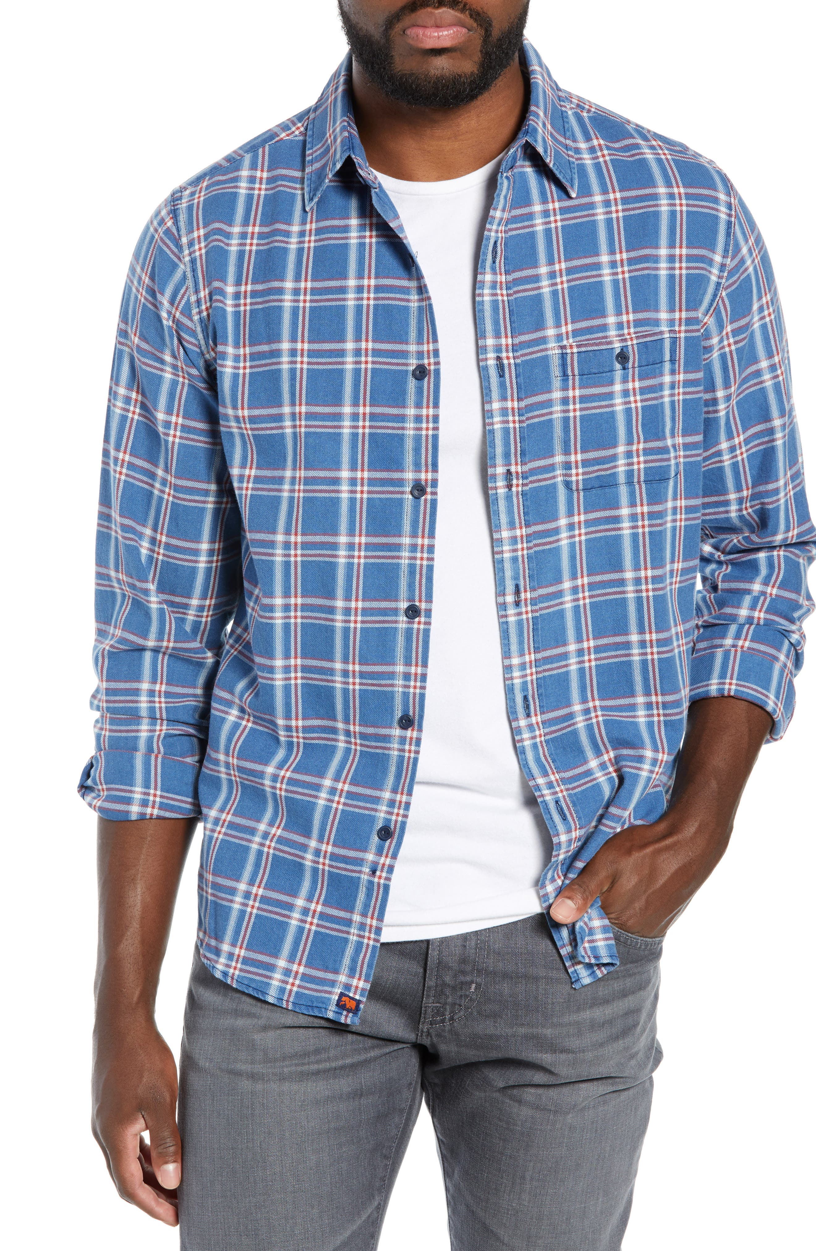 The Normal Brand Frankfort Regular Fit Plaid Indigo Twill Flannel Shirt