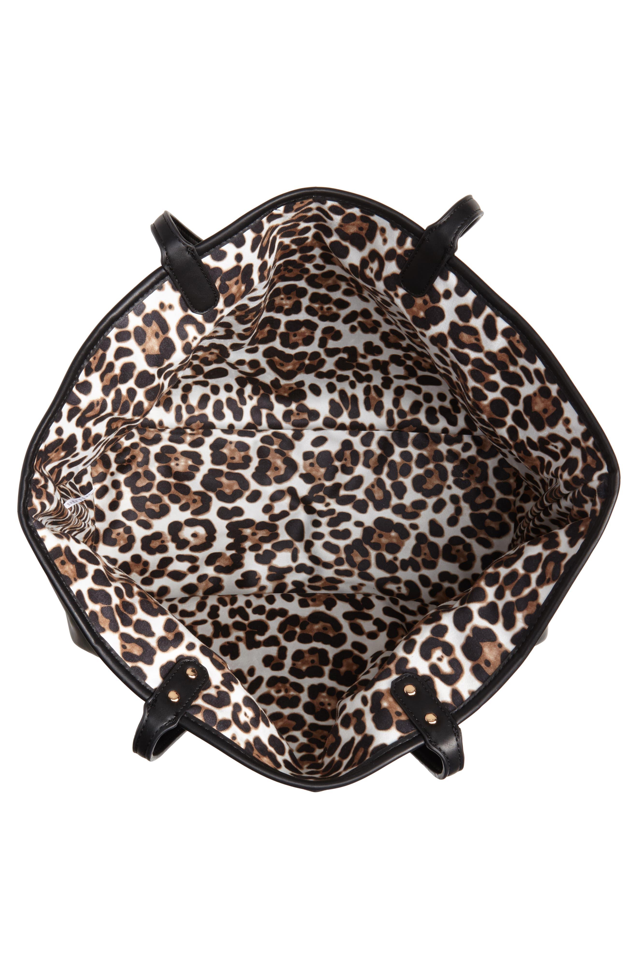 Tina Leopard Print & Vegan Leather Reversible Tote,                             Alternate thumbnail 5, color,                             BLACK/ LEOPARD
