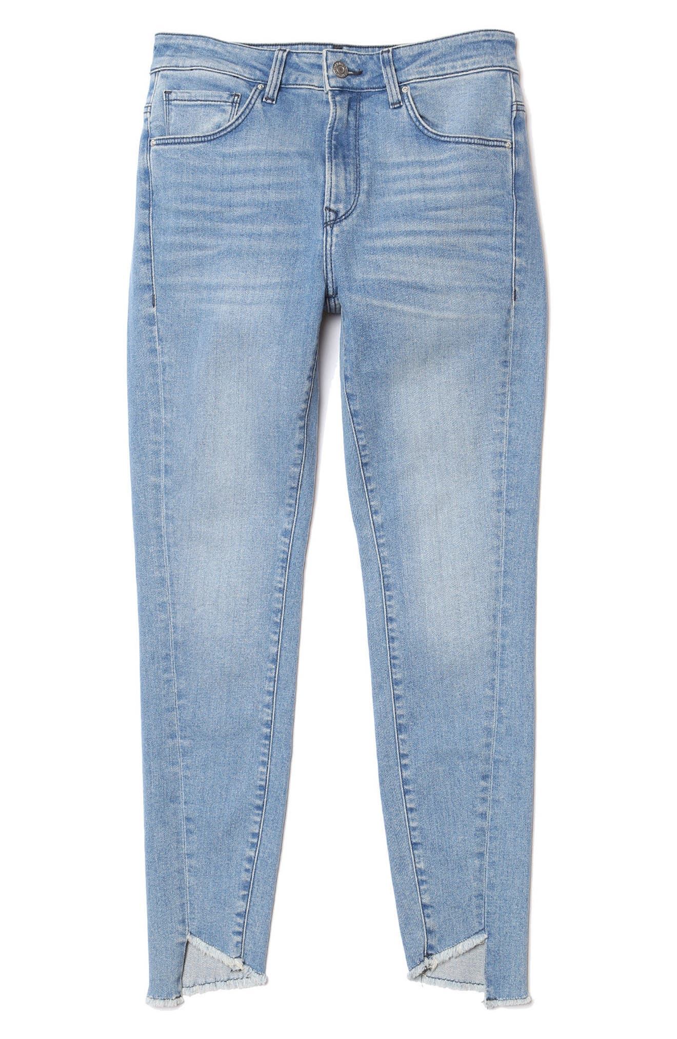 Tess Twisted Step Hem Skinny Jeans,                             Alternate thumbnail 4, color,                             400