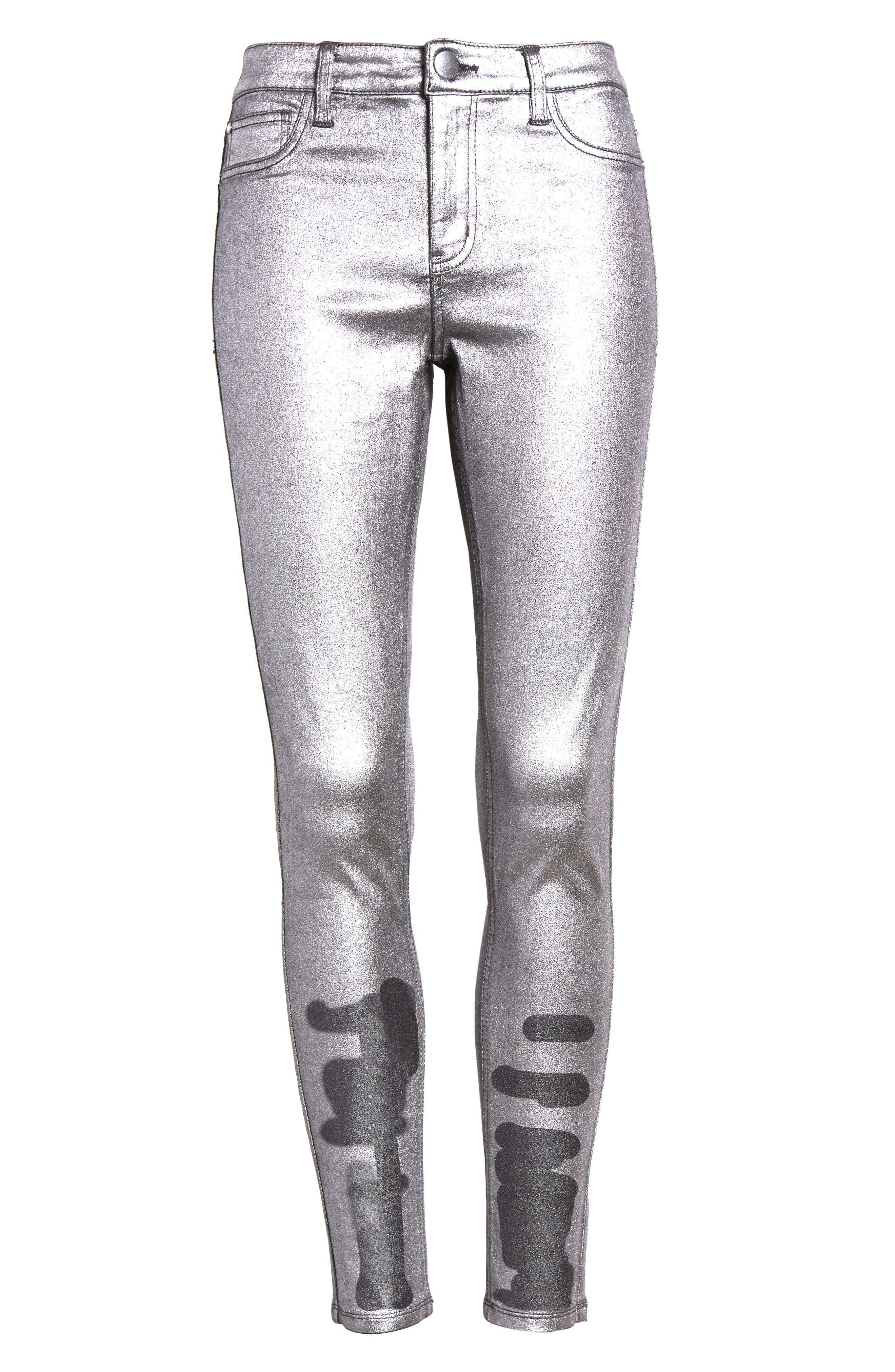 Metallic Coated Skinny Jeans,                             Alternate thumbnail 7, color,                             001
