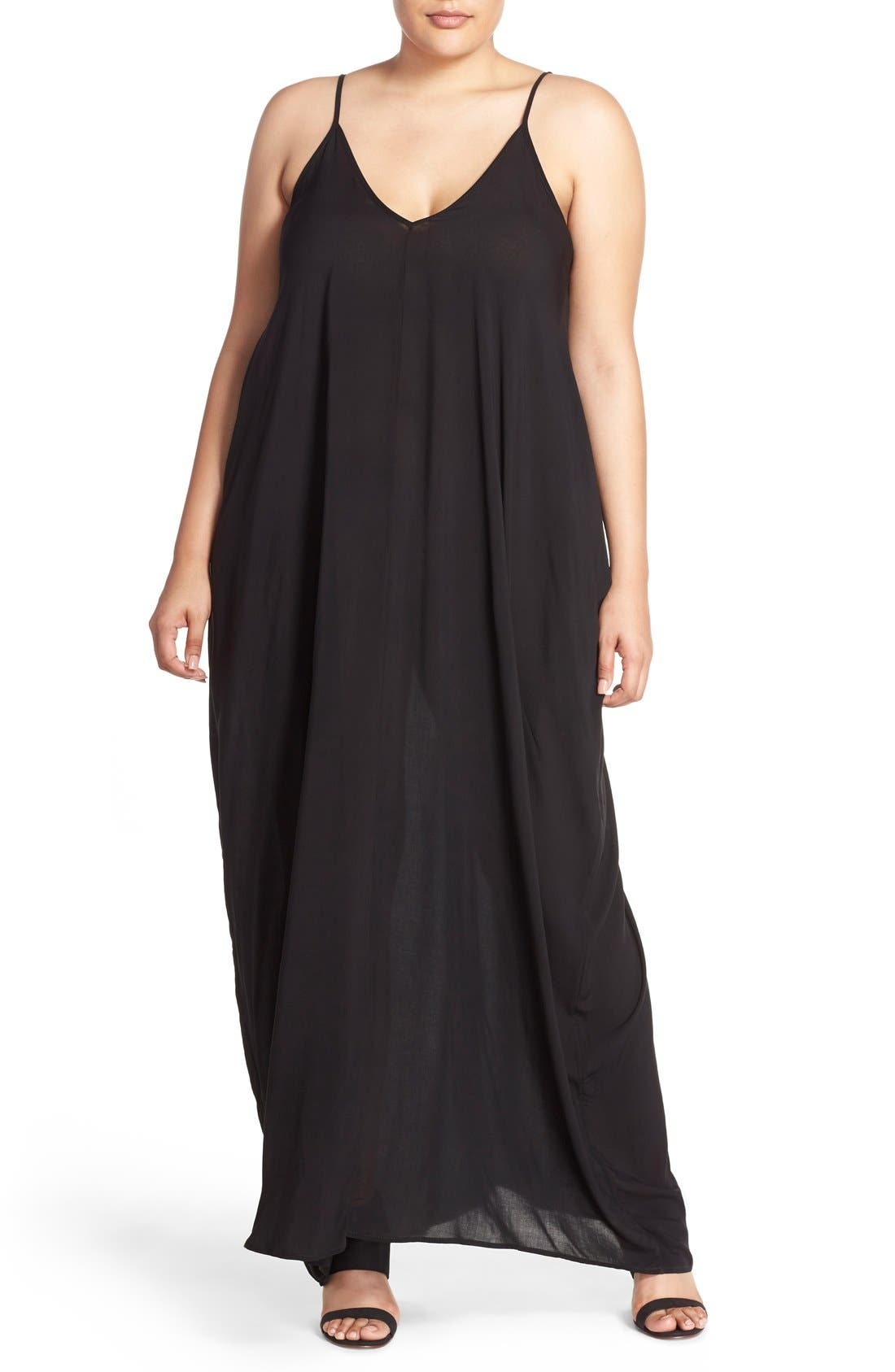 Cover-Up Maxi Dress,                             Main thumbnail 1, color,                             BLACK