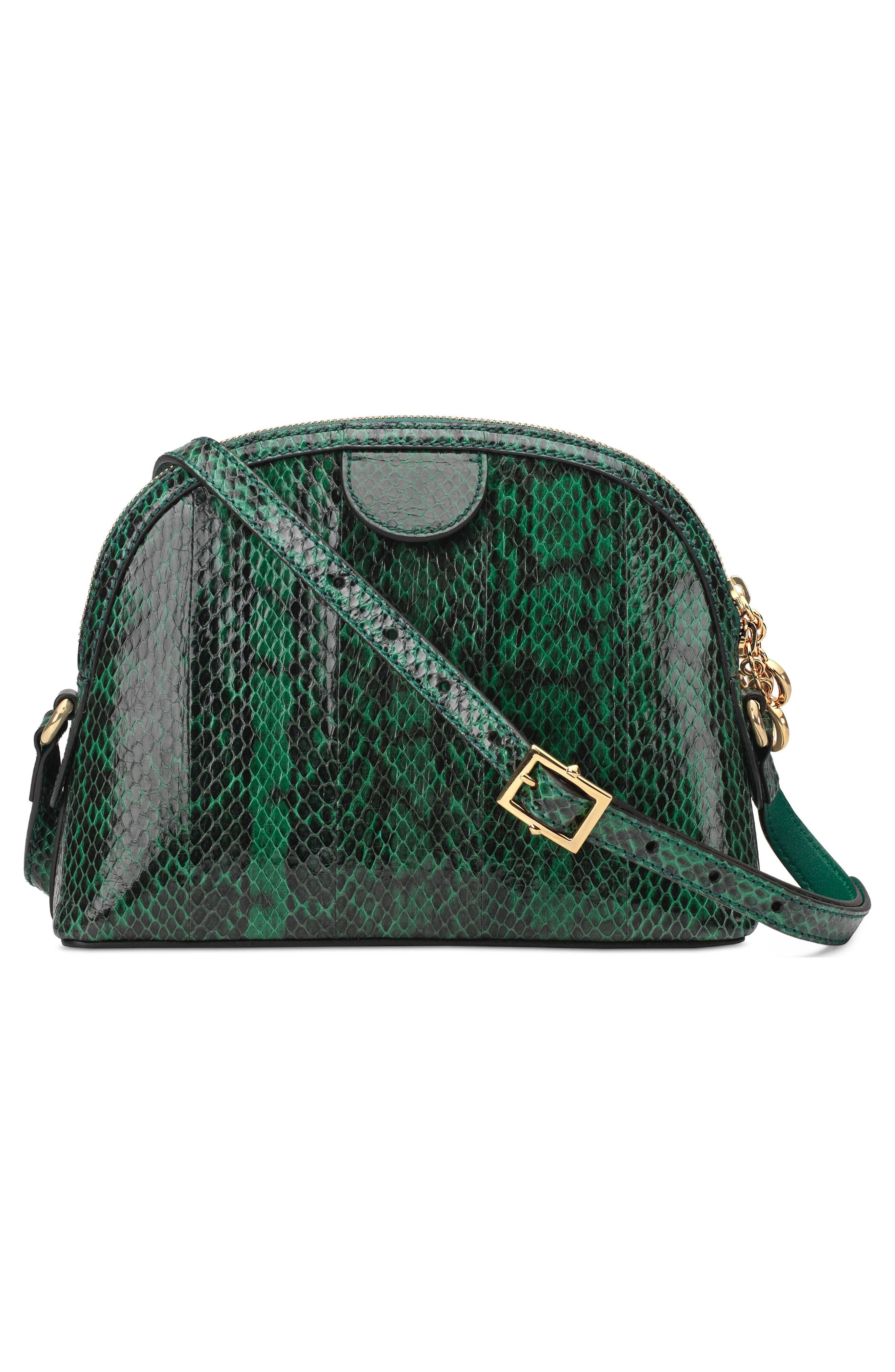 Small Ophidia Genuine Snakeskin Dome Satchel,                             Alternate thumbnail 2, color,                             EMERALD
