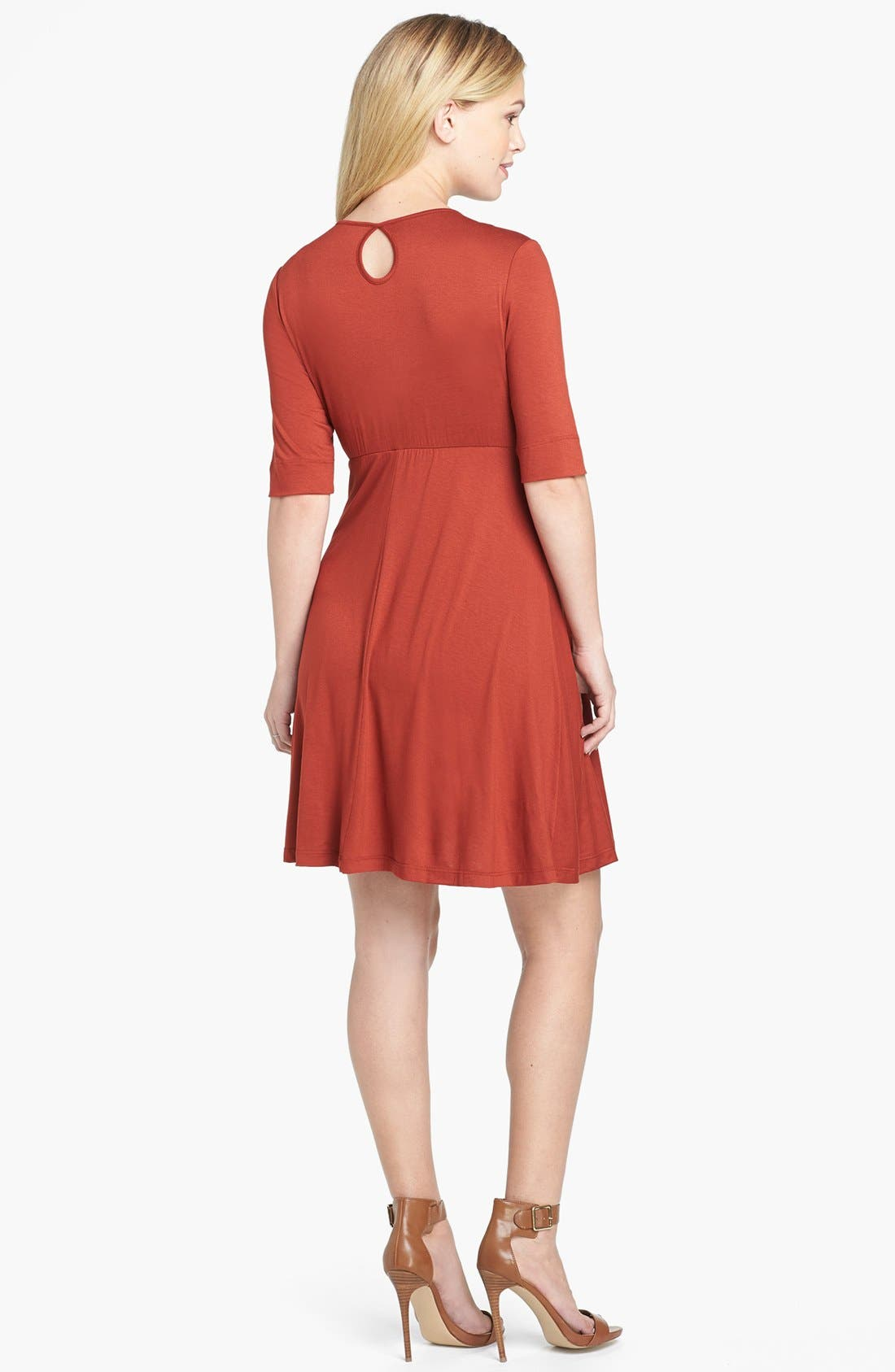 Maternity Tie Front Dress,                             Alternate thumbnail 3, color,                             RUST
