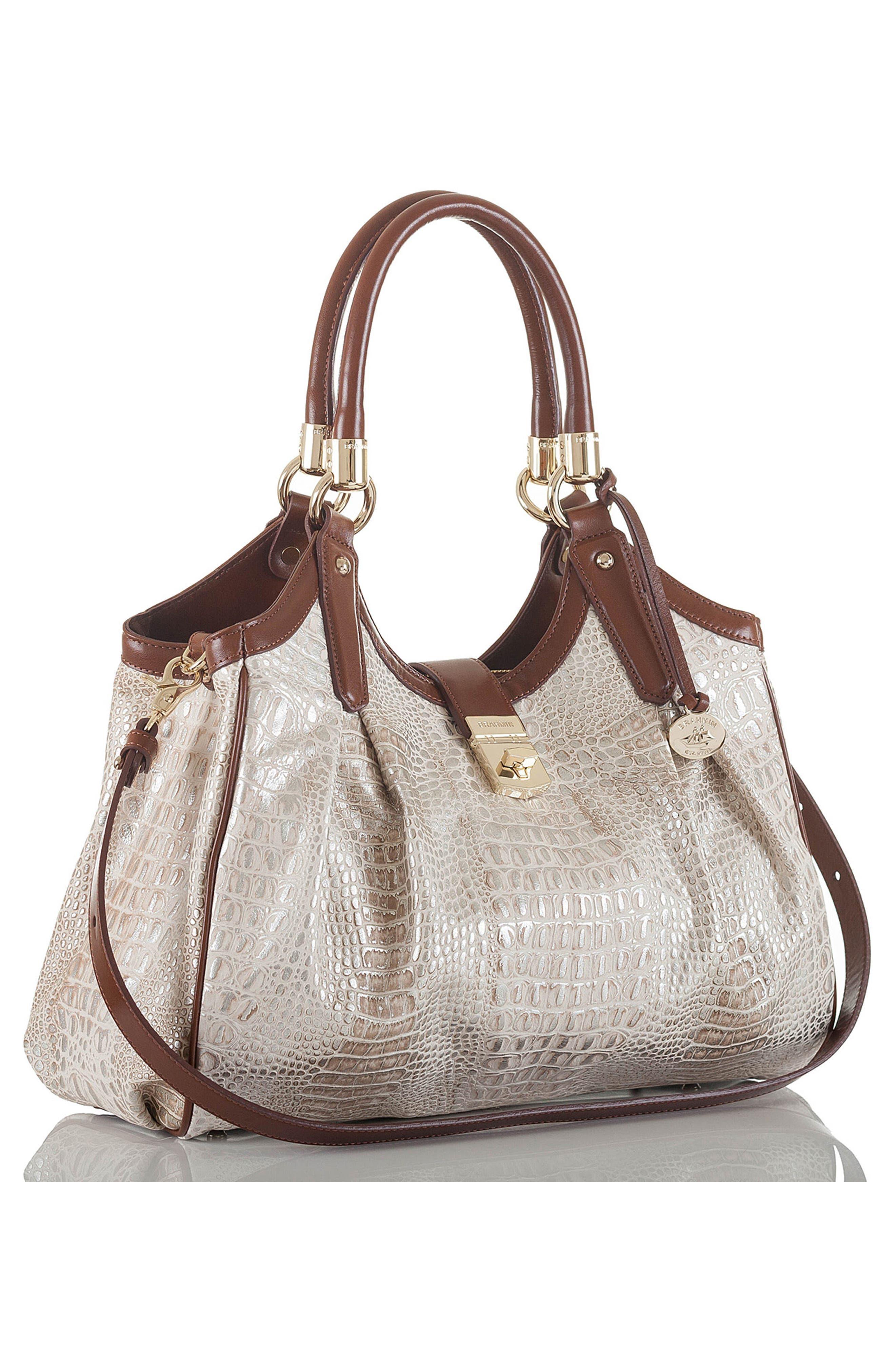 Elisa Croc Embossed Leather Shoulder Bag,                             Alternate thumbnail 4, color,                             BEIGE