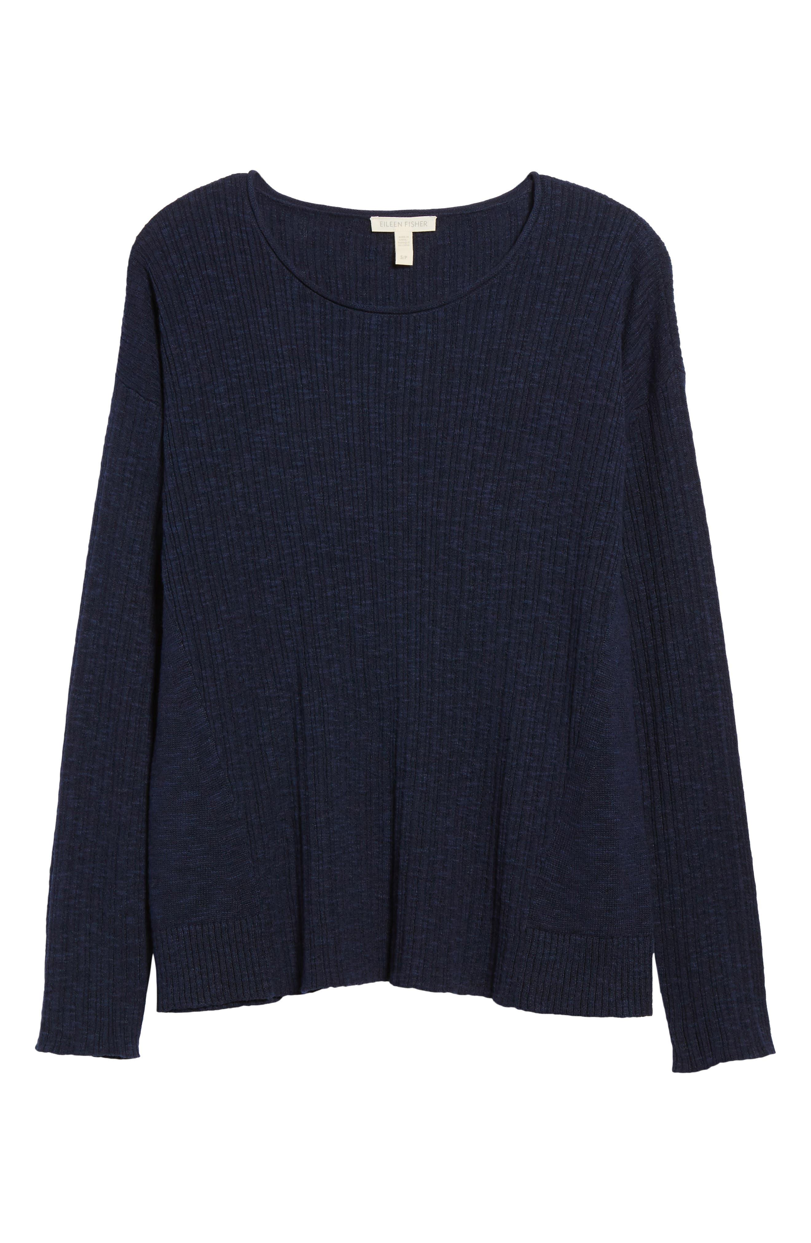 Organic Linen & Cotton Crewneck Sweater,                             Alternate thumbnail 30, color,