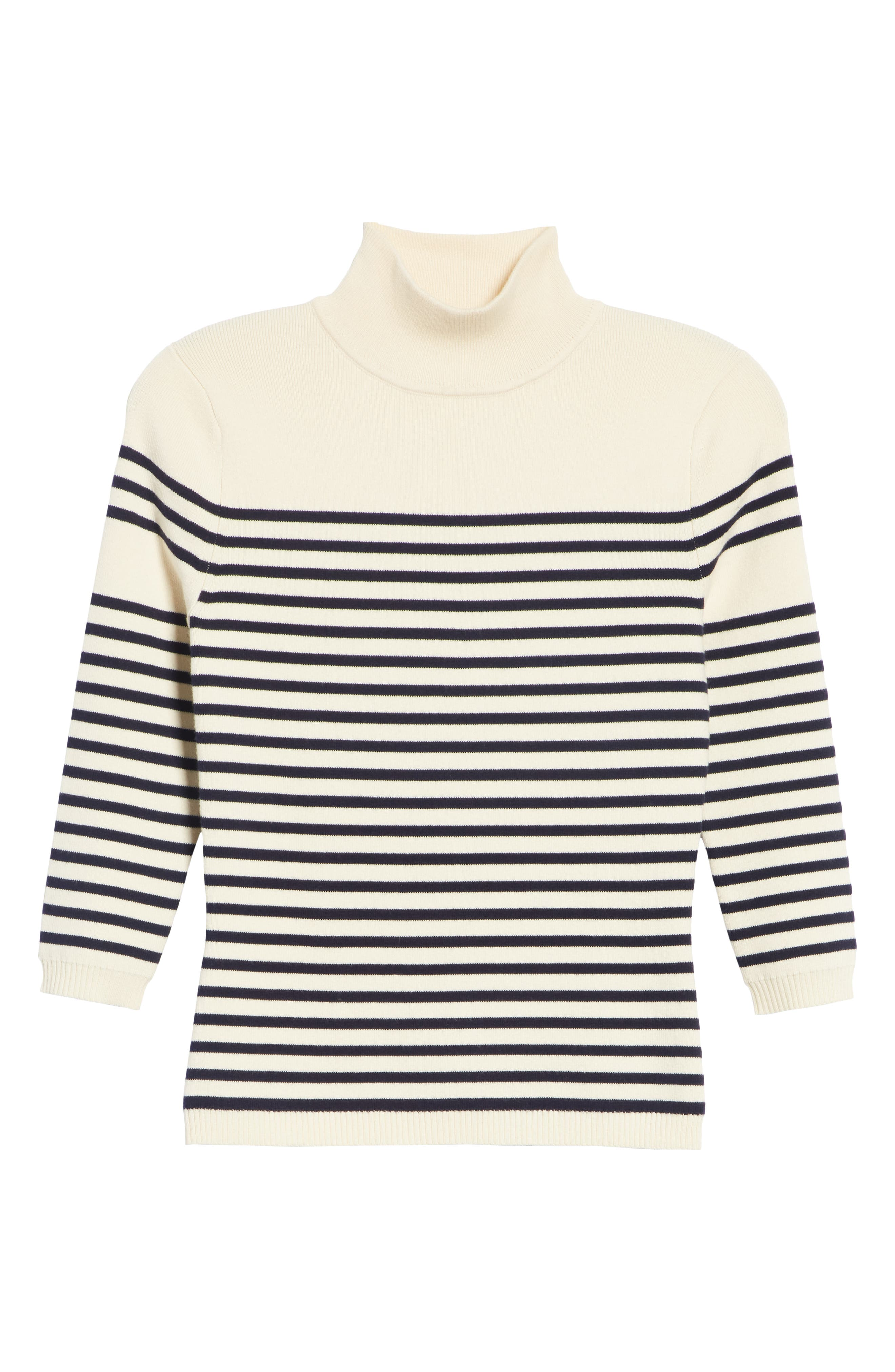 Classique Stripe Sweater,                             Alternate thumbnail 6, color,                             CREAM/ NAVY STRIPES