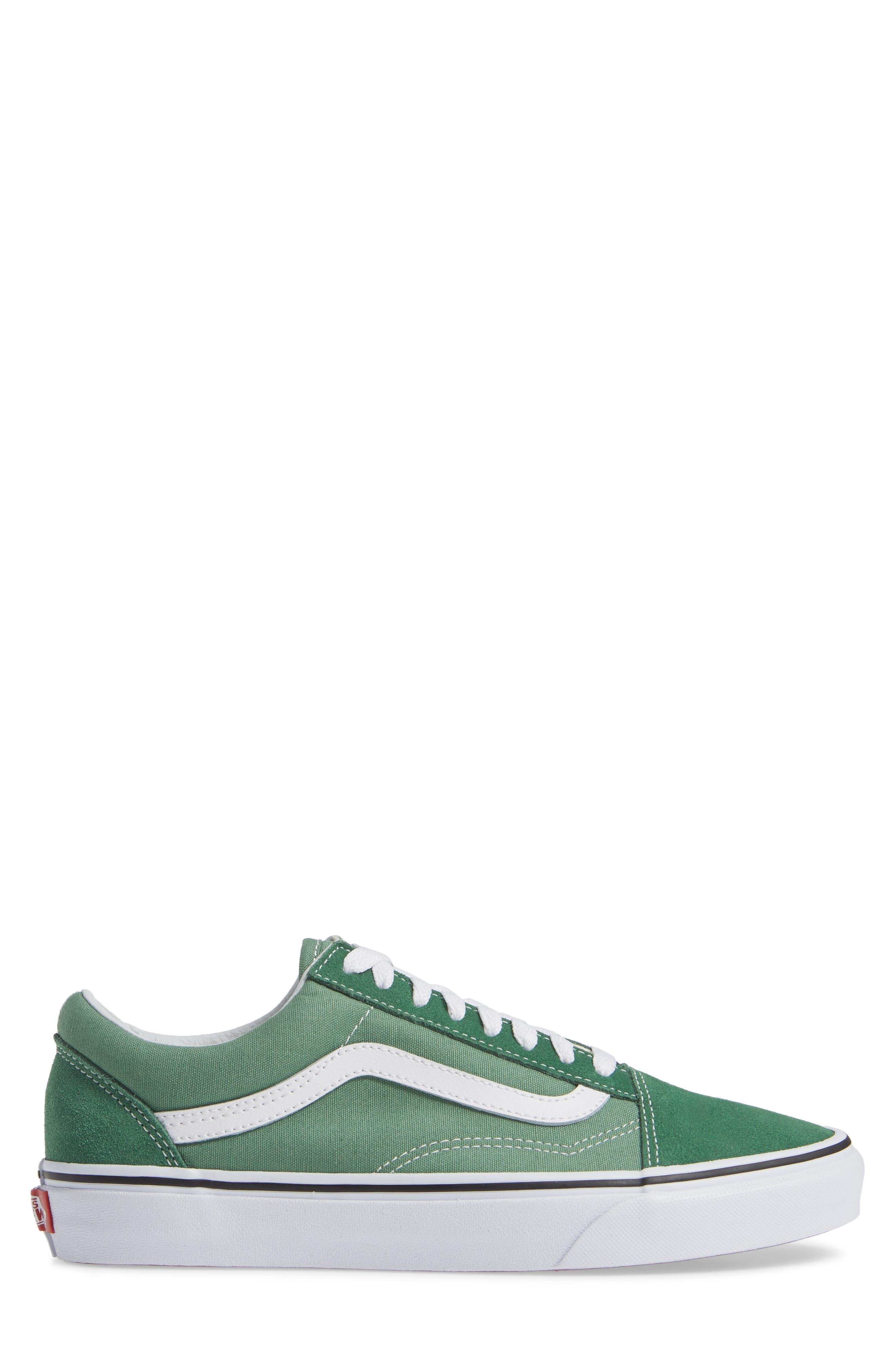 'Old Skool' Sneaker,                             Alternate thumbnail 3, color,                             DEEP GRASS GREEN/ TRUE WHITE