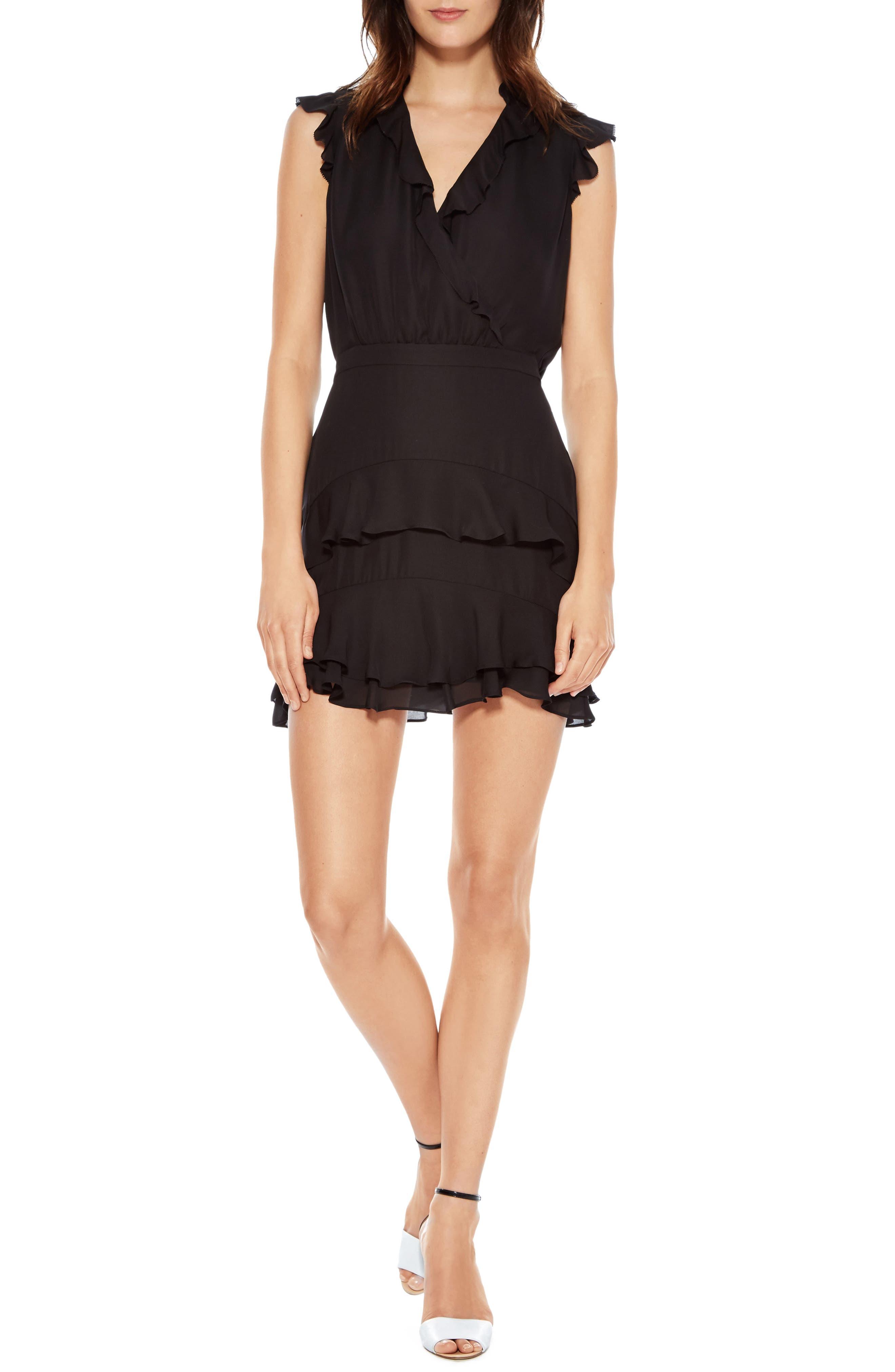 Tangia Silk Dress,                         Main,                         color, BLACK